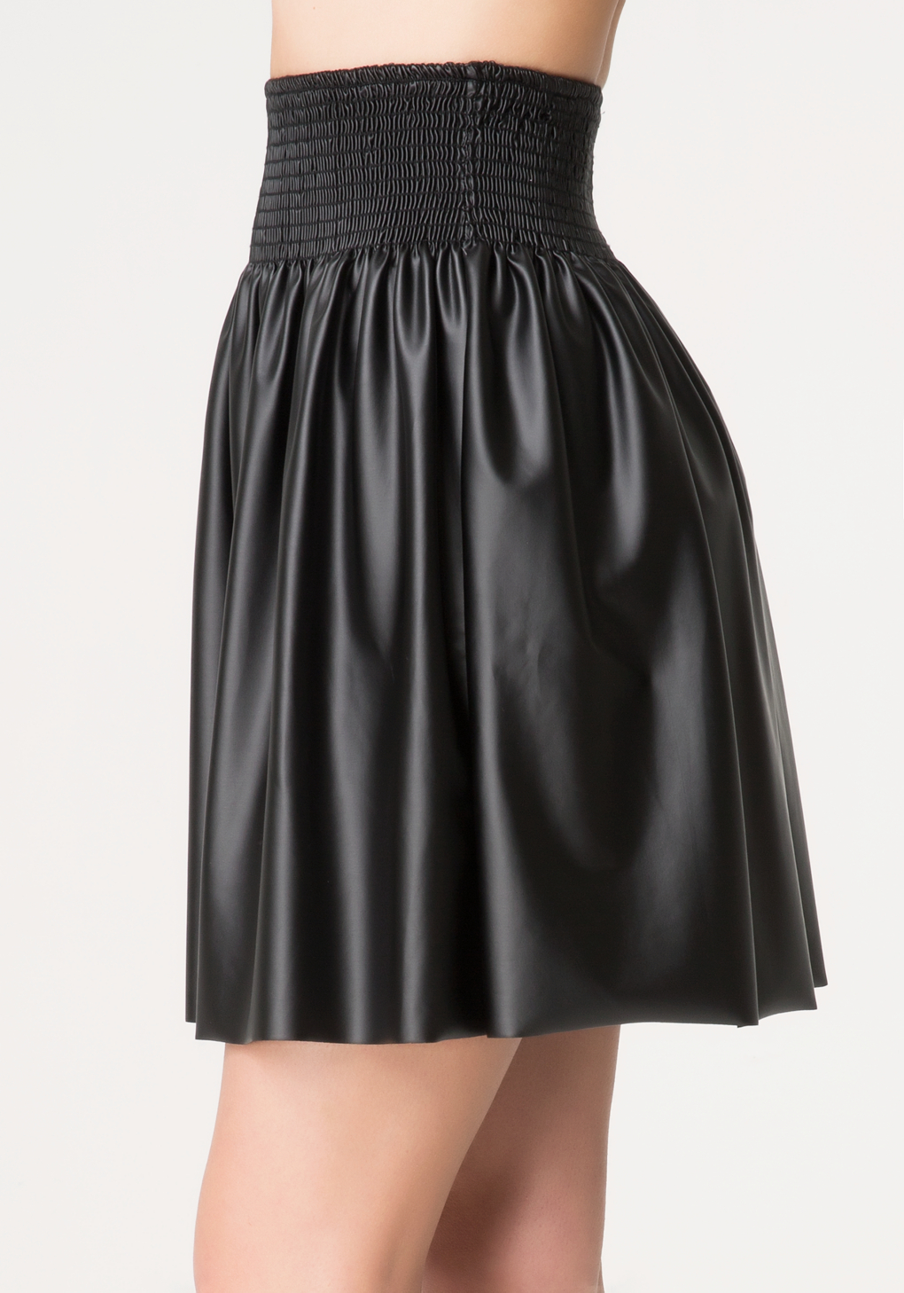 bebe smocked faux leather skirt in black lyst