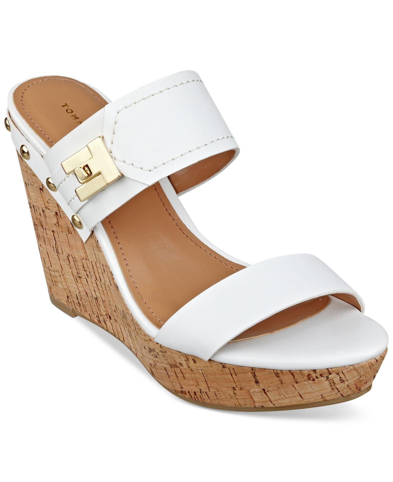 522f8c0857be Lyst - Tommy Hilfiger Women s Madasen Platform Wedge Sandals in White