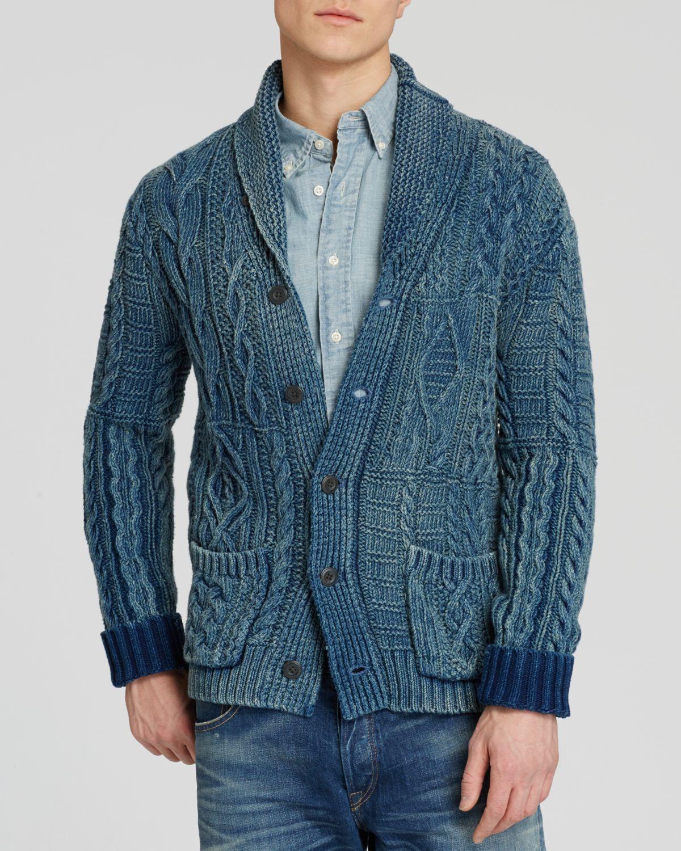 Polo ralph lauren Indigo Cotton Shawl Cardigan in Blue for ...