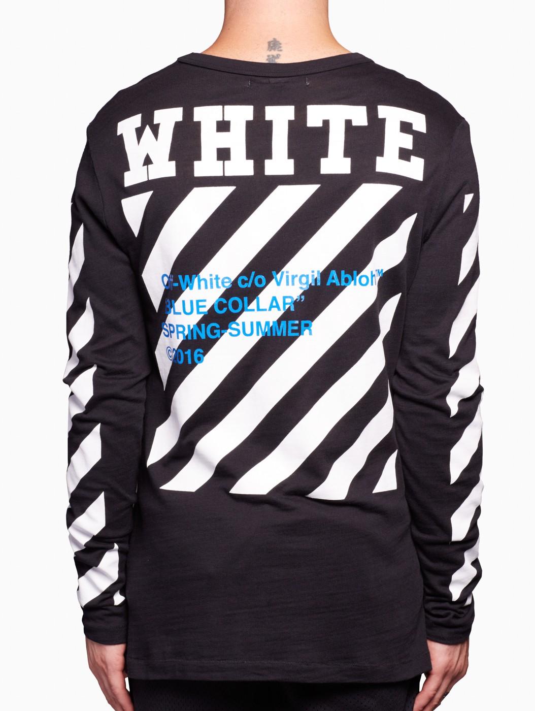Off-White c o Virgil Abloh Blue Collar Ls Tee in Black for Men - Lyst 868deb1ac