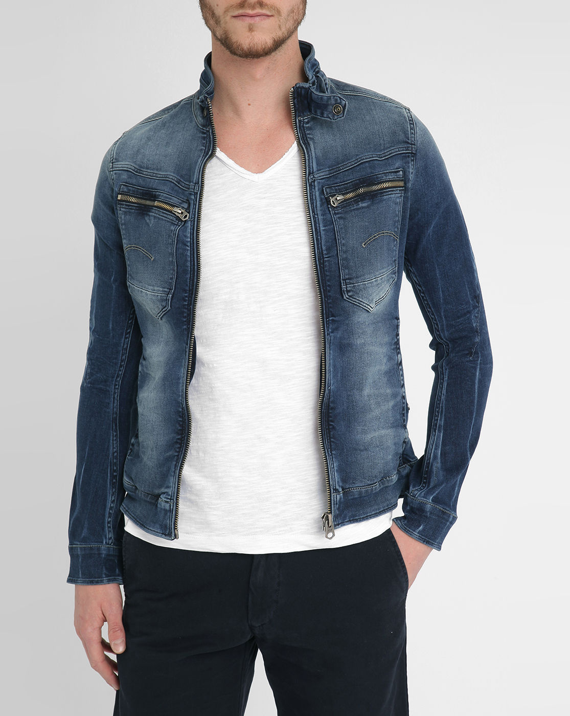 g star raw faded blue arc zip 3d slim denim jacket in blue. Black Bedroom Furniture Sets. Home Design Ideas
