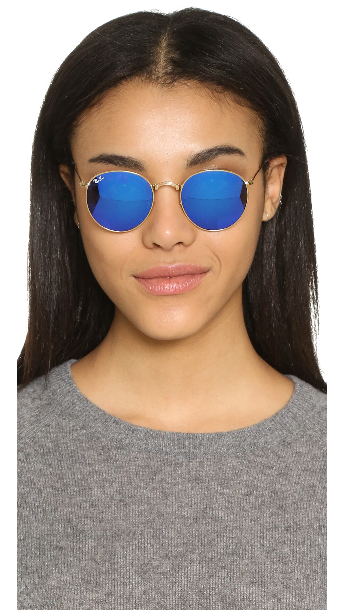 Ray Ban Icons Mirrored Round Sunglasses In Metallic Lyst