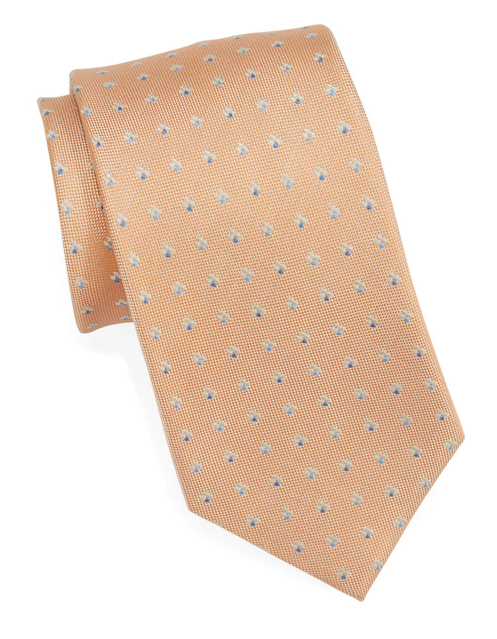 vince camuto classic microfloral tie in orange for lyst