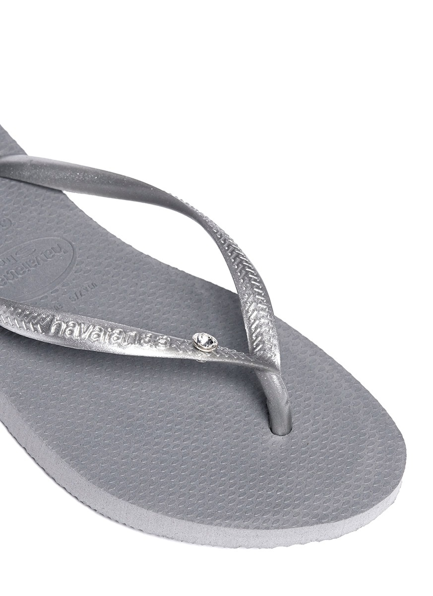 cbca81277 Lyst - Havaianas Slim Crystal Glamour Flip Flops in Gray