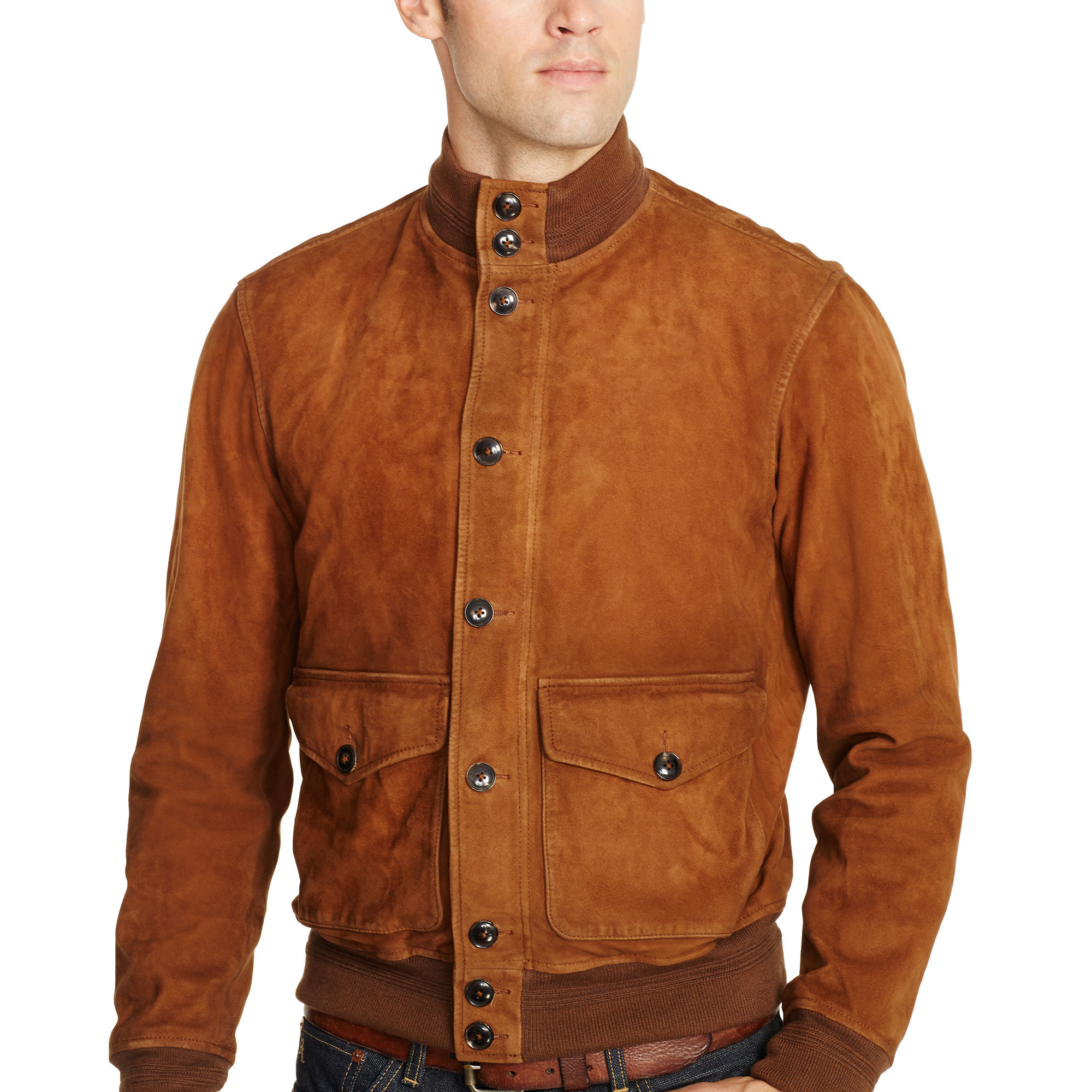 Rubber Rings For Men >> Polo Ralph Lauren Suede Skeet Jacket in Brown for Men - Lyst
