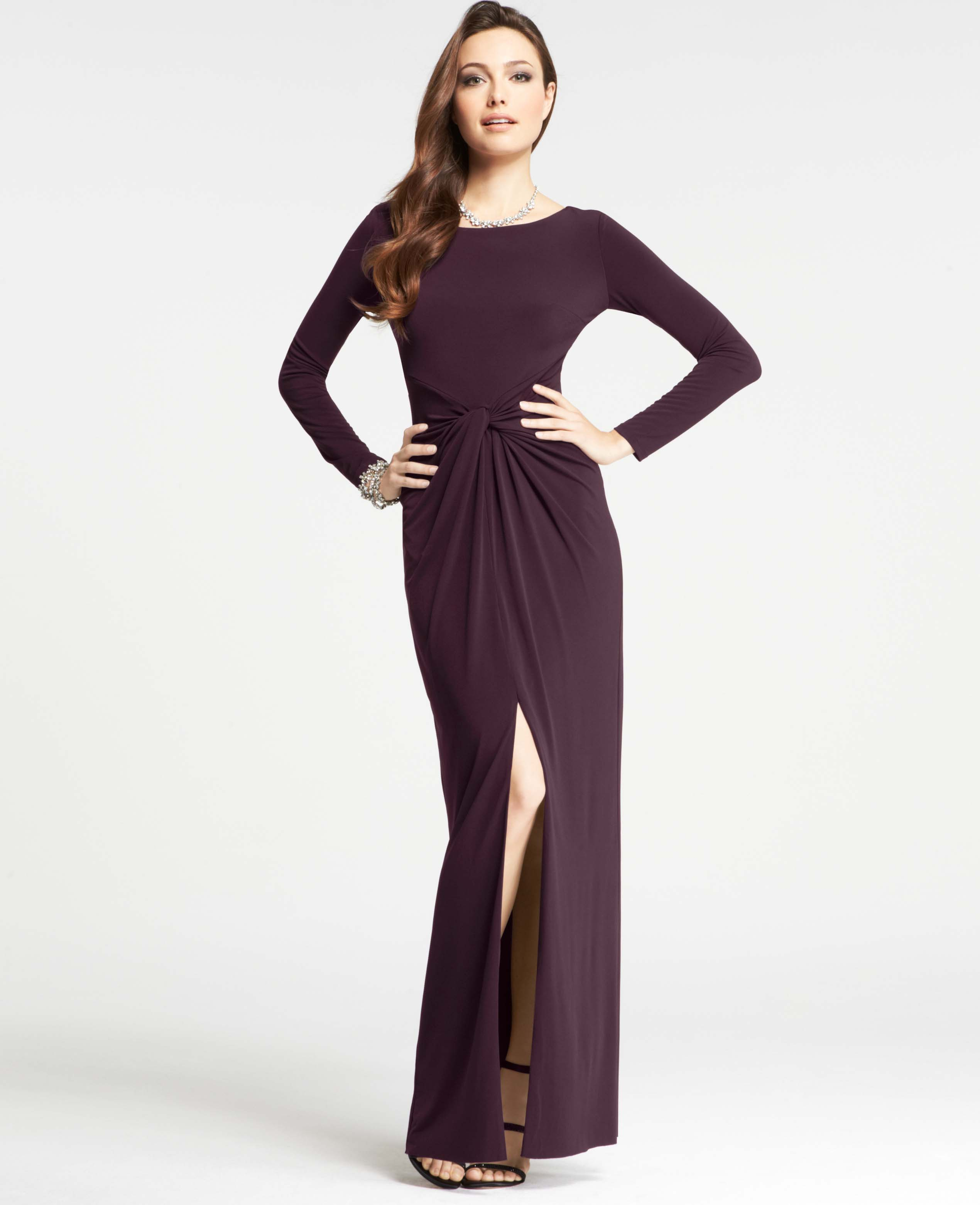 Lyst - Ann Taylor Modern Gala Jersey Long Sleeve Gown in Purple