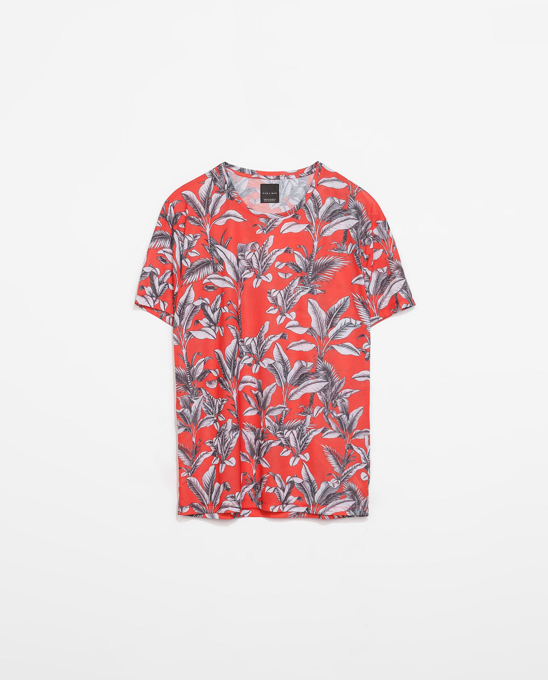 Zara floral print tshirt in red for men lyst for Zara mens floral shirt
