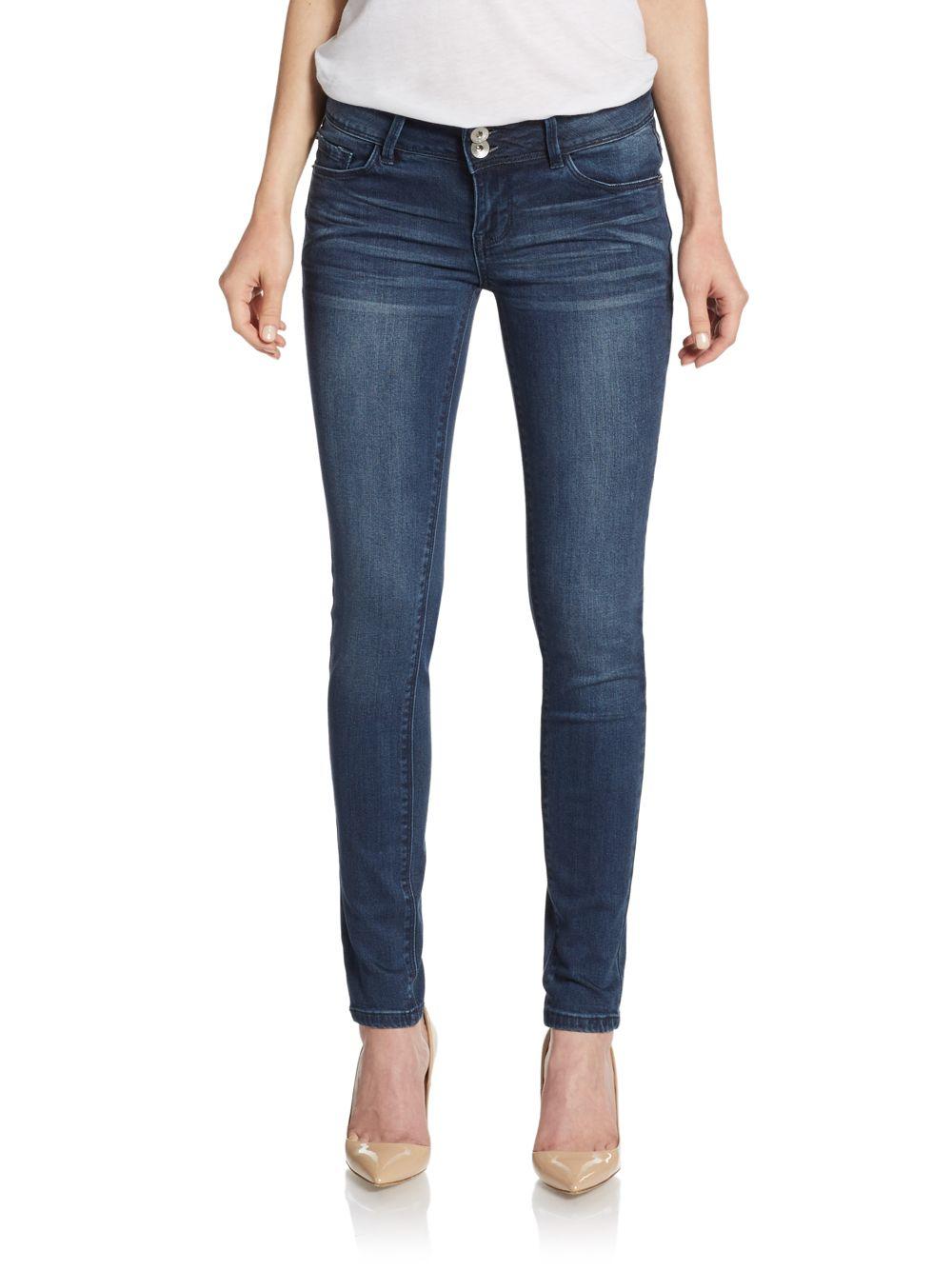 Kensie Double Button Skinny Jeans in Blue | Lyst