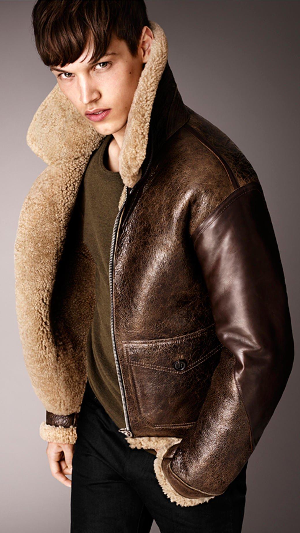Burberry Shearling Aviator Jacket In Brown For Men Dark