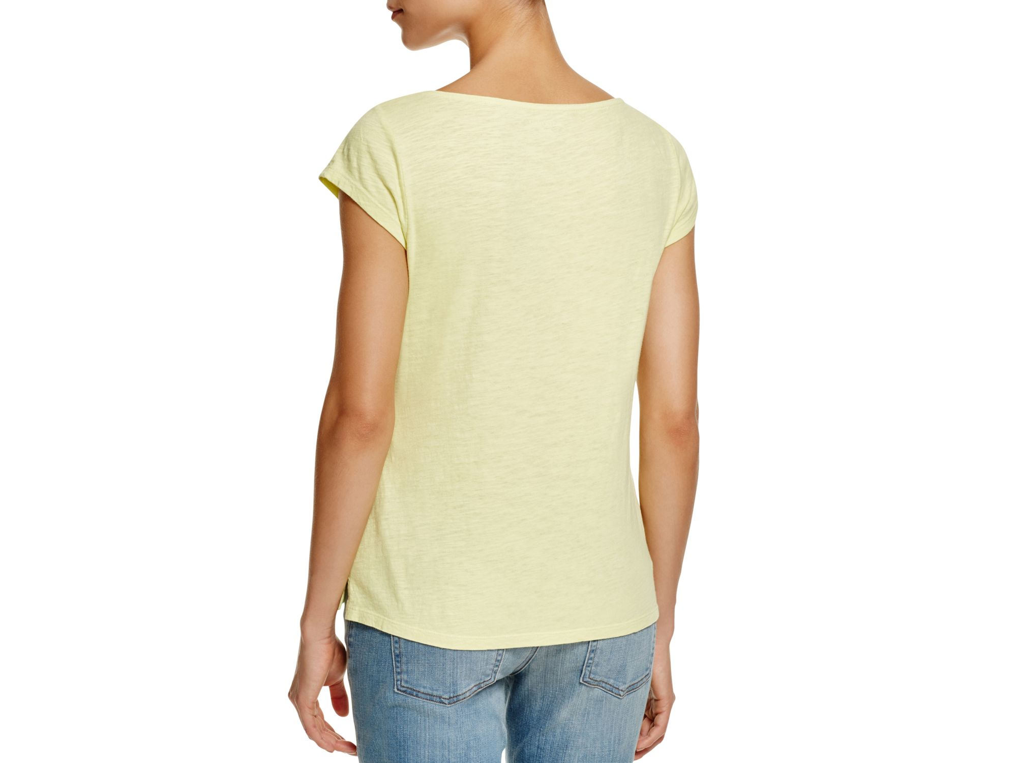 Eileen fisher organic cotton boat neck tee in yellow lyst for Eileen fisher organic cotton t shirt