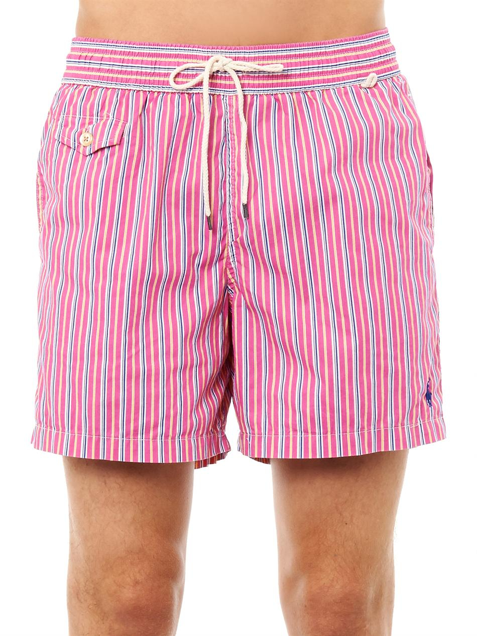 404efd9c7a Polo Ralph Lauren Traveler Butchersstripe Swim Shorts in Pink for ...