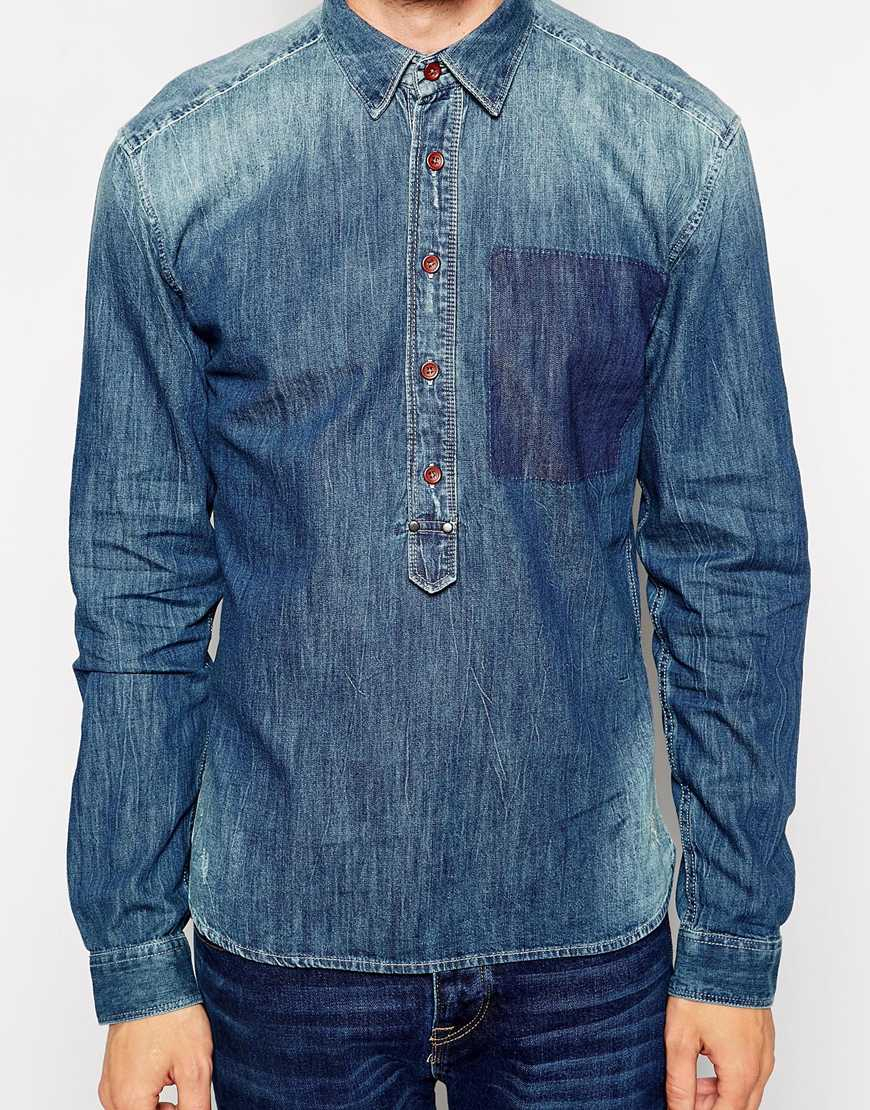 Selected Denim Shirt With Half Placket in Blue for Men | Lyst