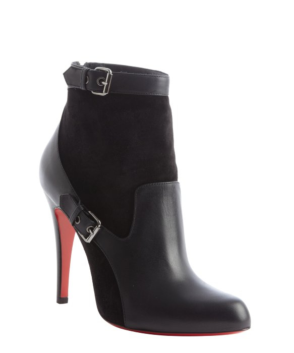 Christian louboutin Black Leather and Suede Buckle Detail Ankle ...