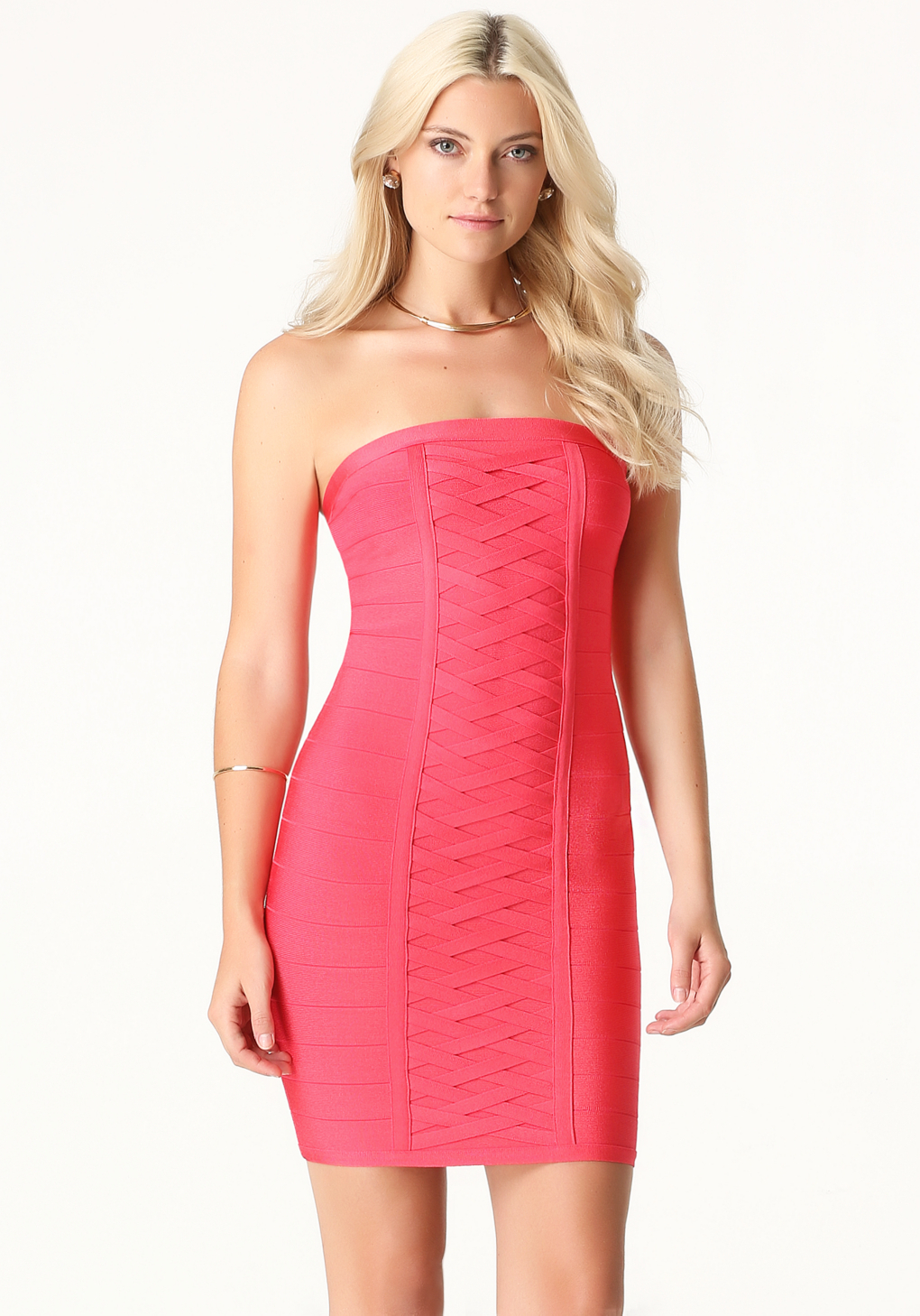 Lyst Bebe Strapless Bandage Dress In Pink