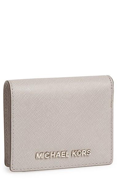 b683cb363193 MICHAEL Michael Kors 'jet Set' Saffiano Leather Card Holder in Gray ...
