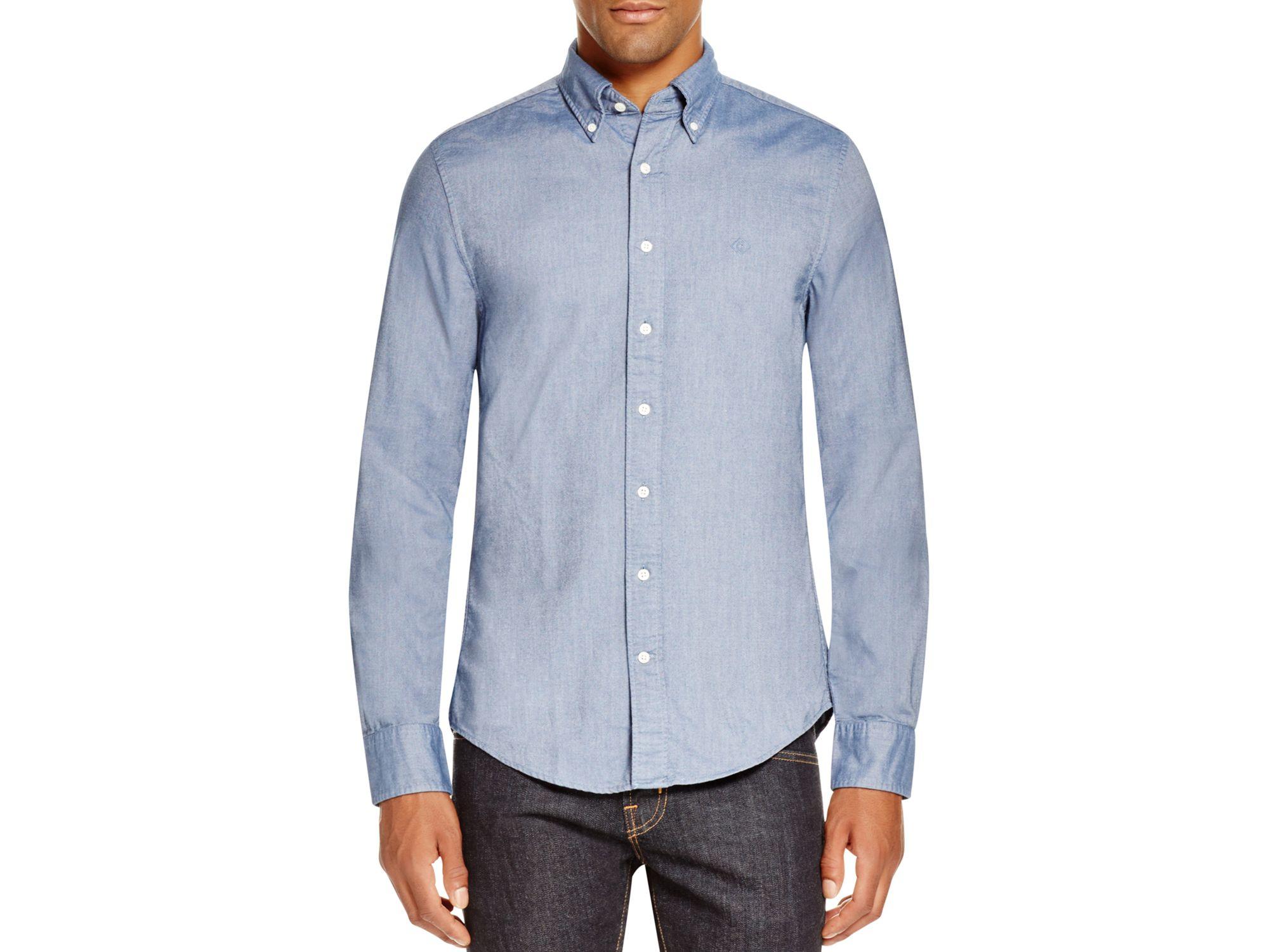 Lyst gant perfect oxford slim fit button down shirt in for Slim fit white button down shirt
