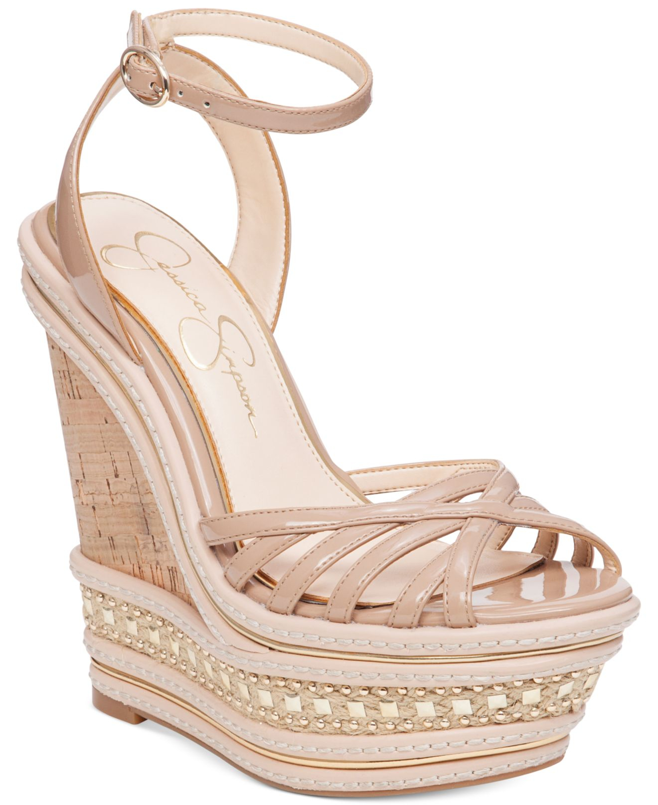 a062505c8ead Lyst jessica simpson aimms two piece wedge sandals in brown jpg 1320x1616 Jessica  simpson tan wedges