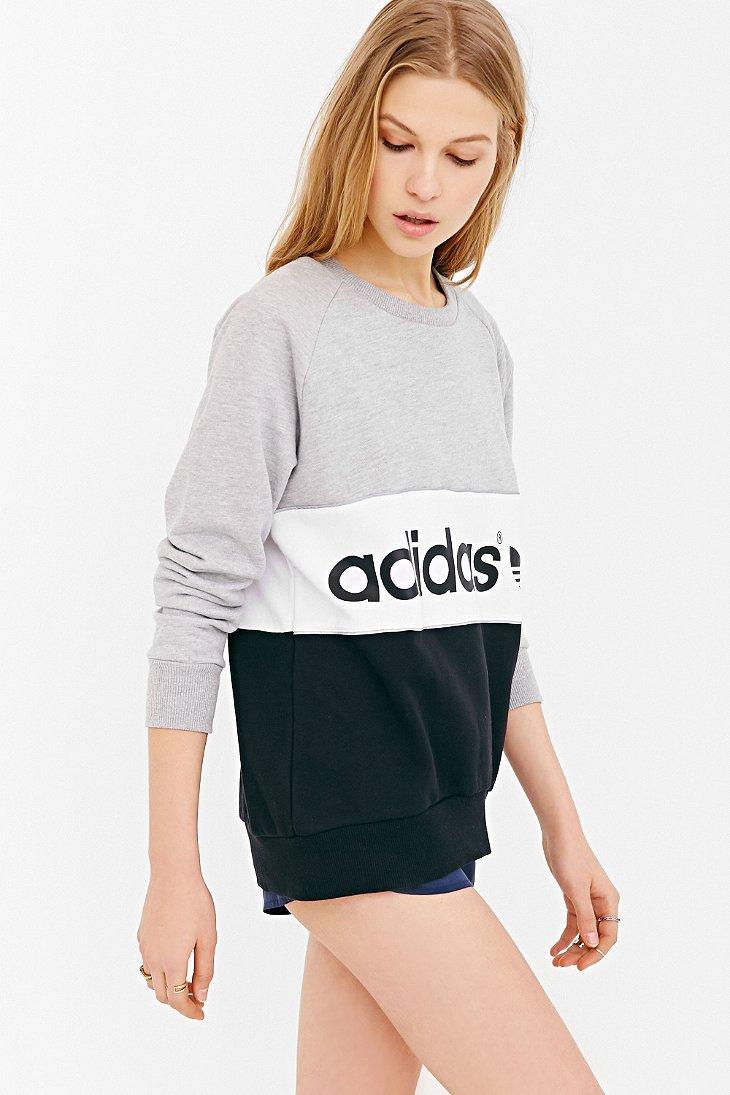 adidas originals city sweatshirt in gray lyst. Black Bedroom Furniture Sets. Home Design Ideas