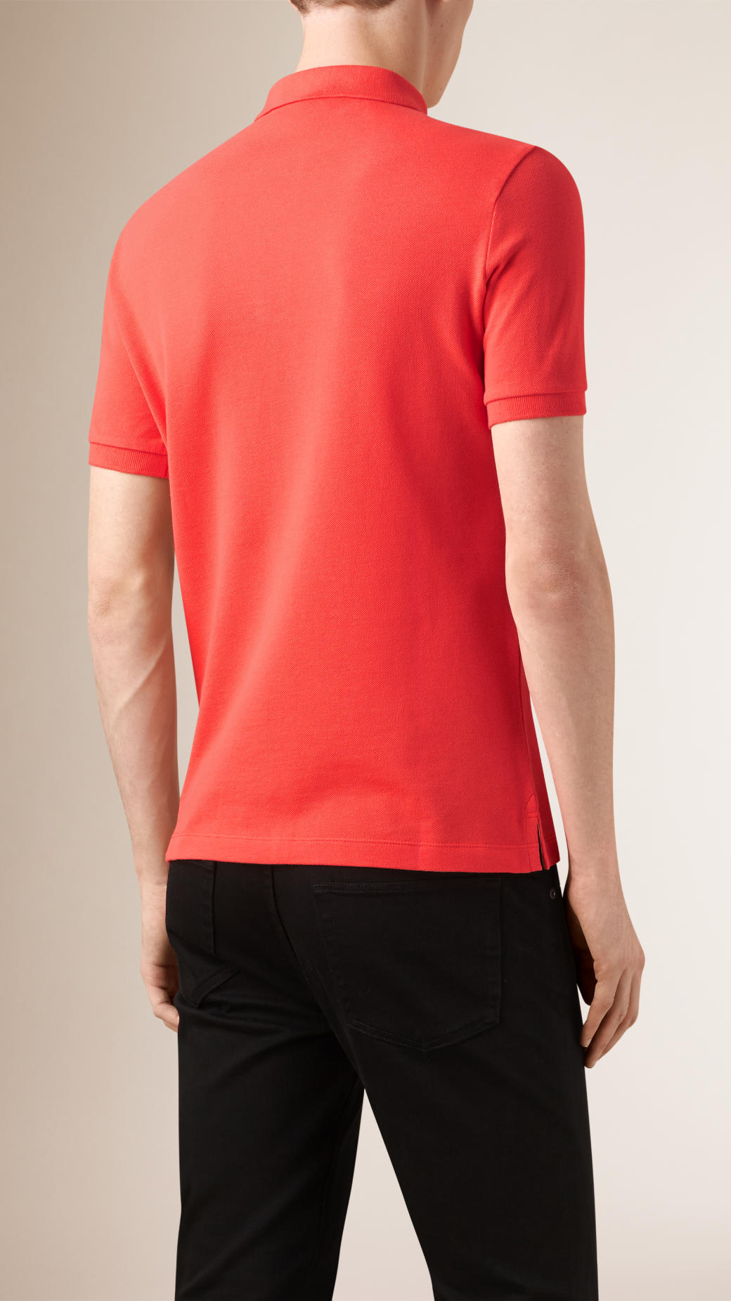 Burberry Check Placket Polo Shirt In Orange For Men