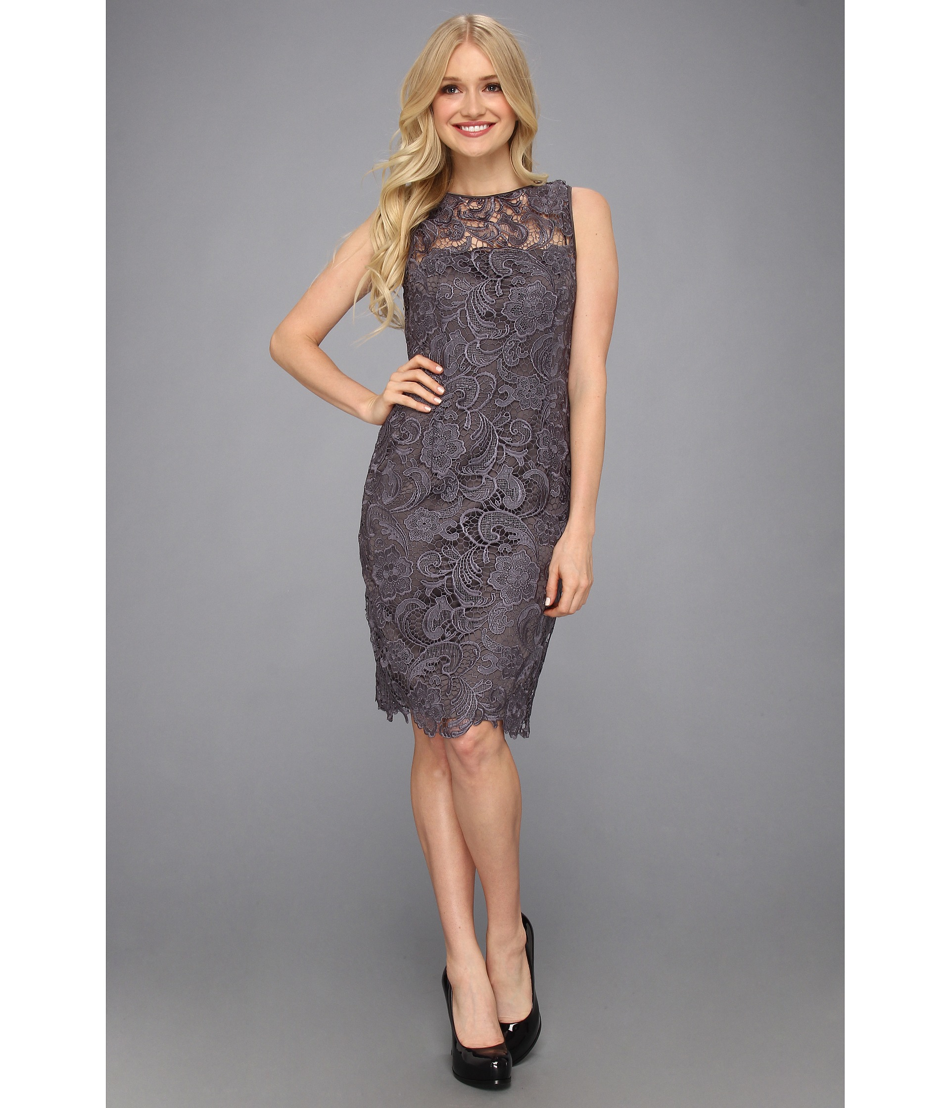 efa45882c7 Lyst - Adrianna Papell Illusion Neck Lace Dress in Black