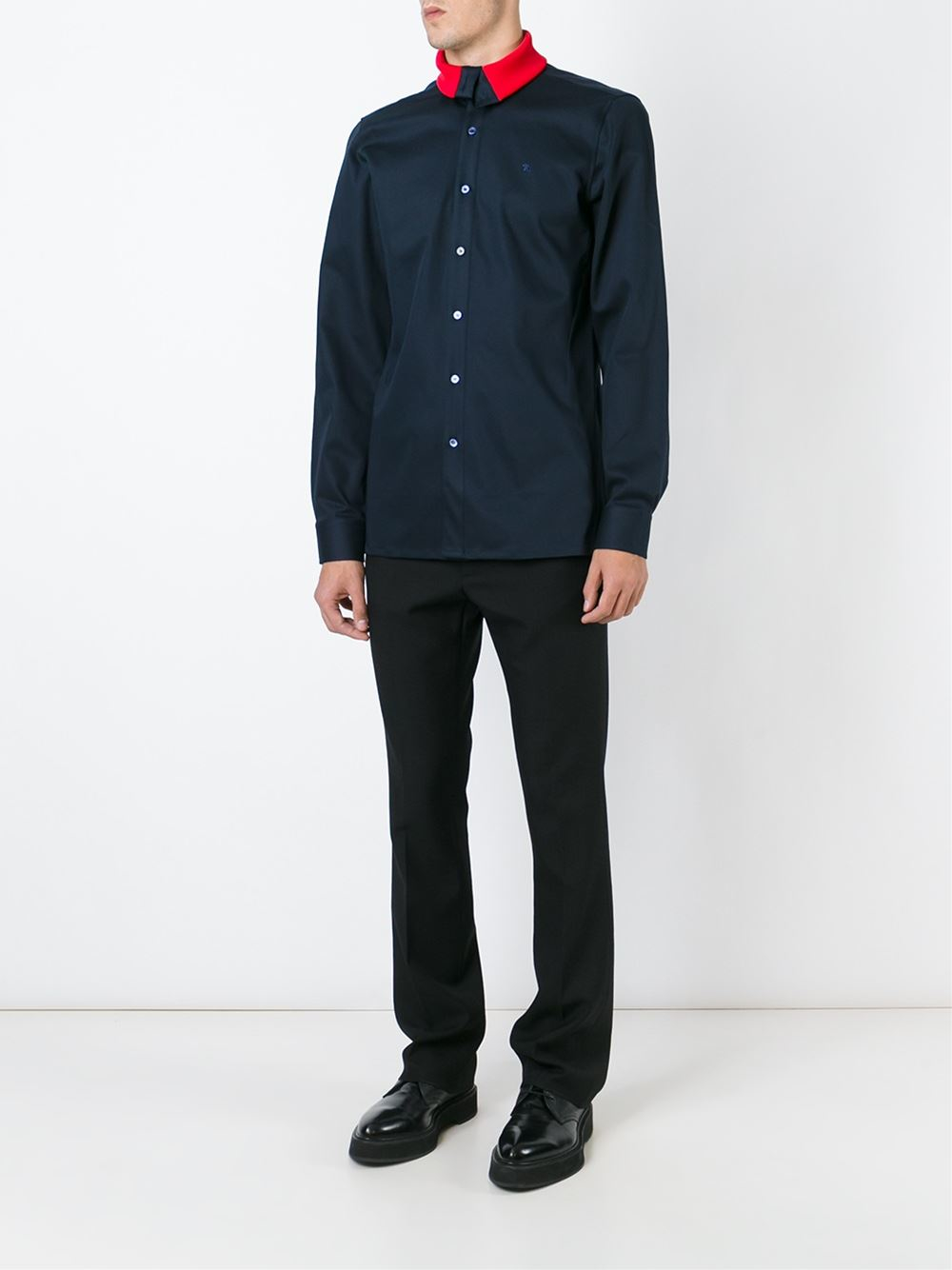 raf simons contrast collar shirt in blue for men lyst. Black Bedroom Furniture Sets. Home Design Ideas