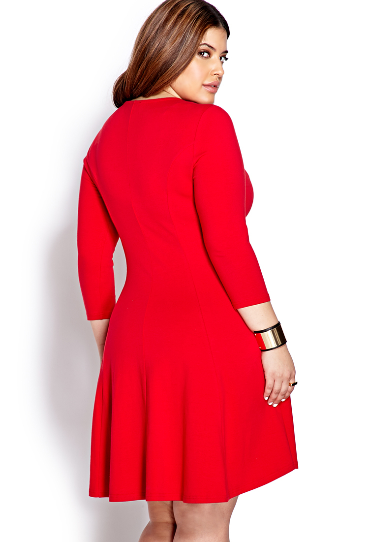 Forever 21 No-fuss Skater Dress in Red | Lyst
