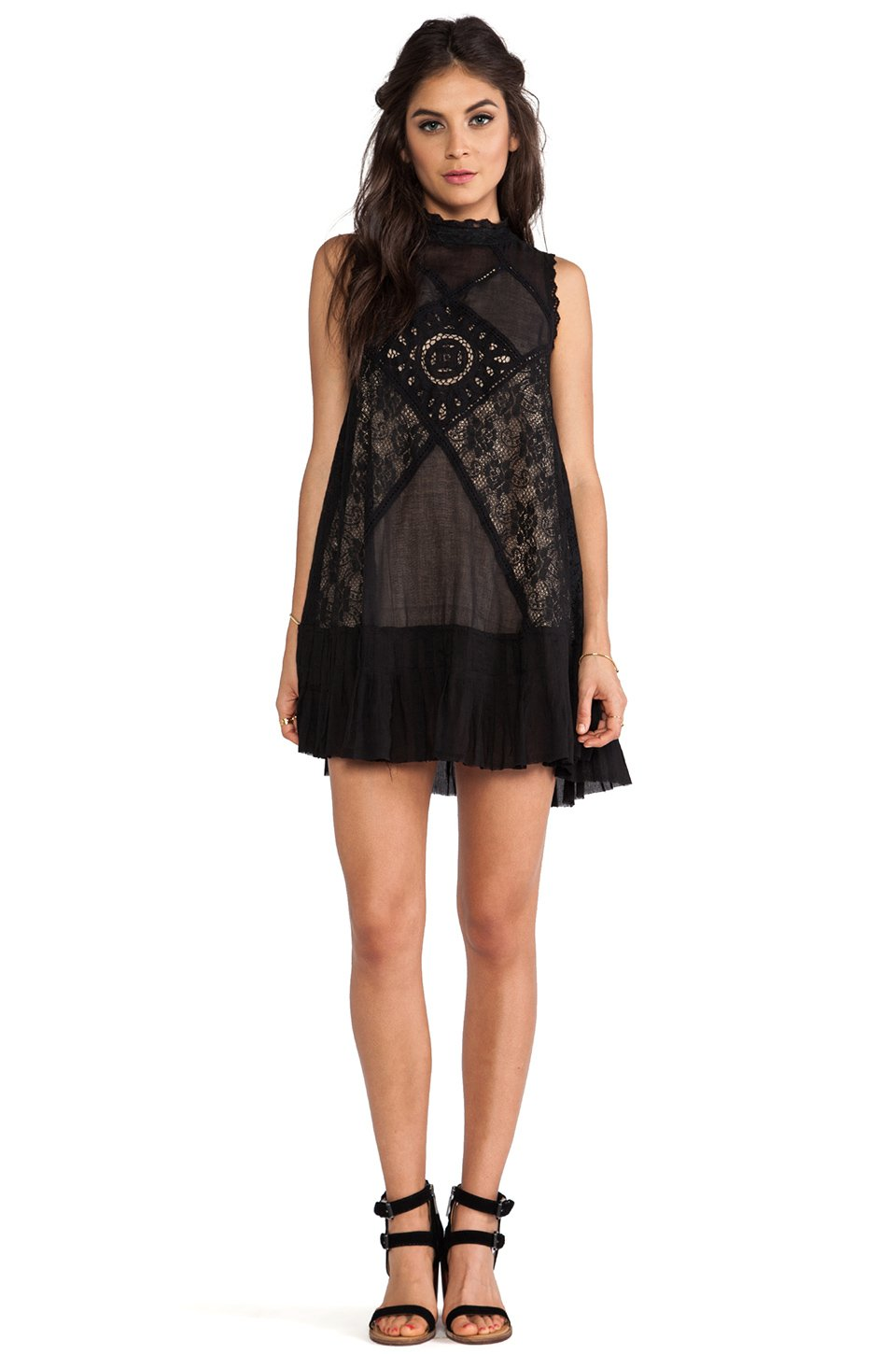 Free people lace dress in black