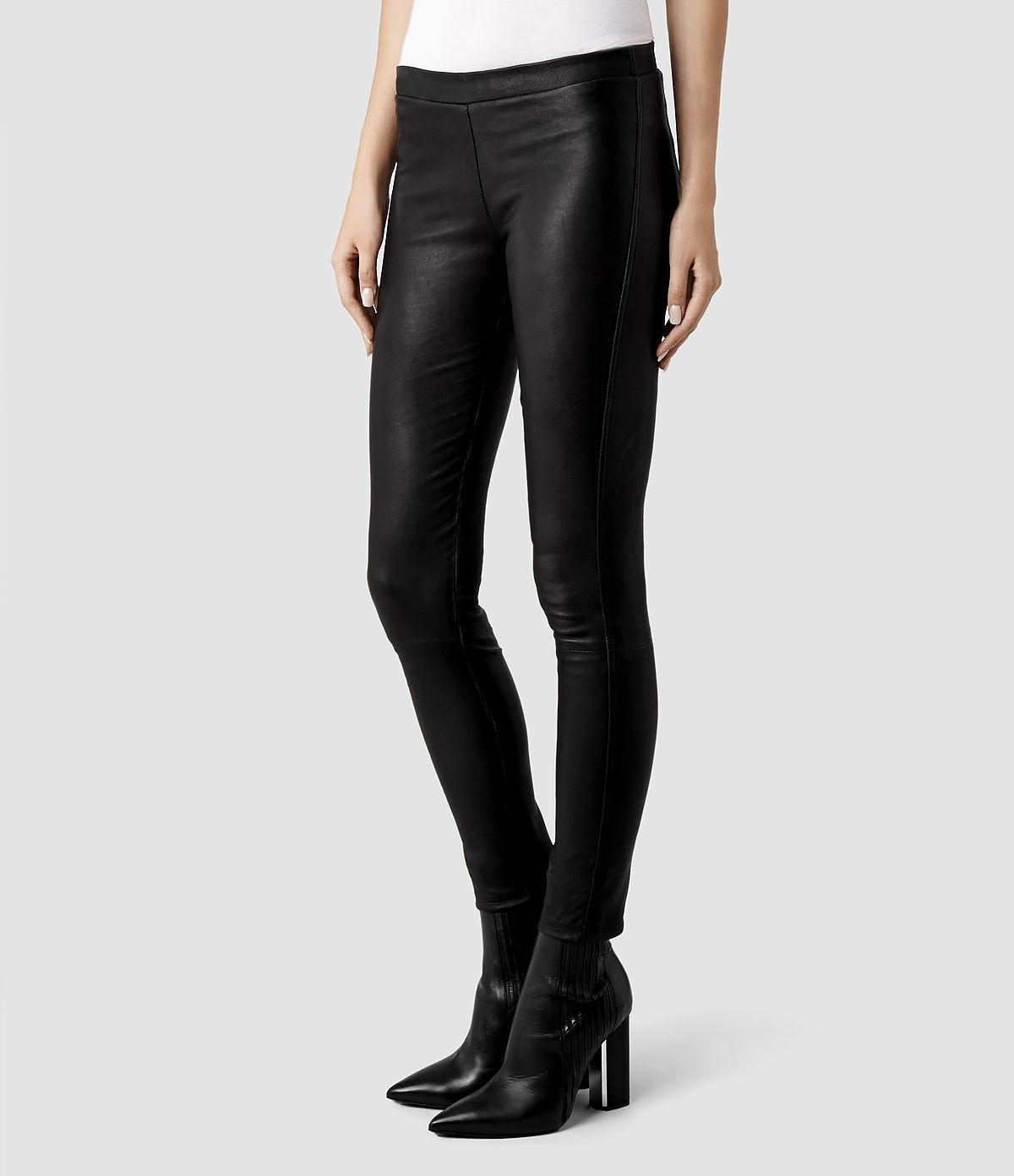 Allsaints Elm Leather Leggings In Black Lyst