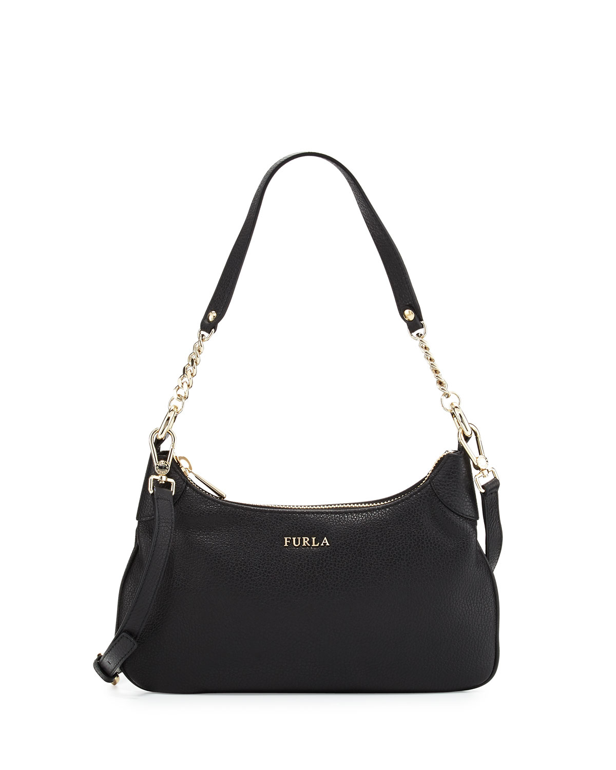Furla Julia Chain Small Leather Hobo Bag in Black | Lyst