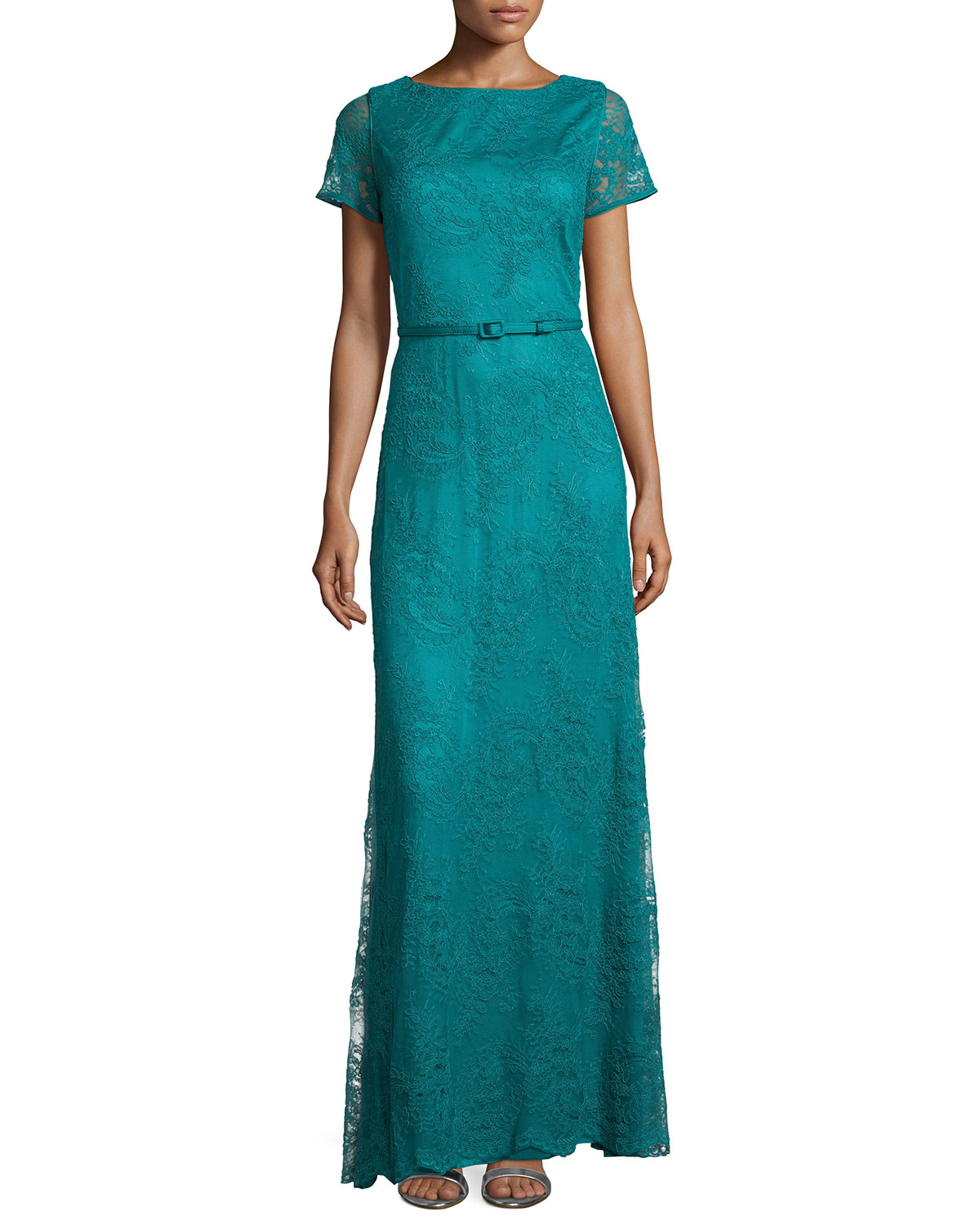 Lyst Catherine Deane Short Sleeve Belted Lace Gown In Blue