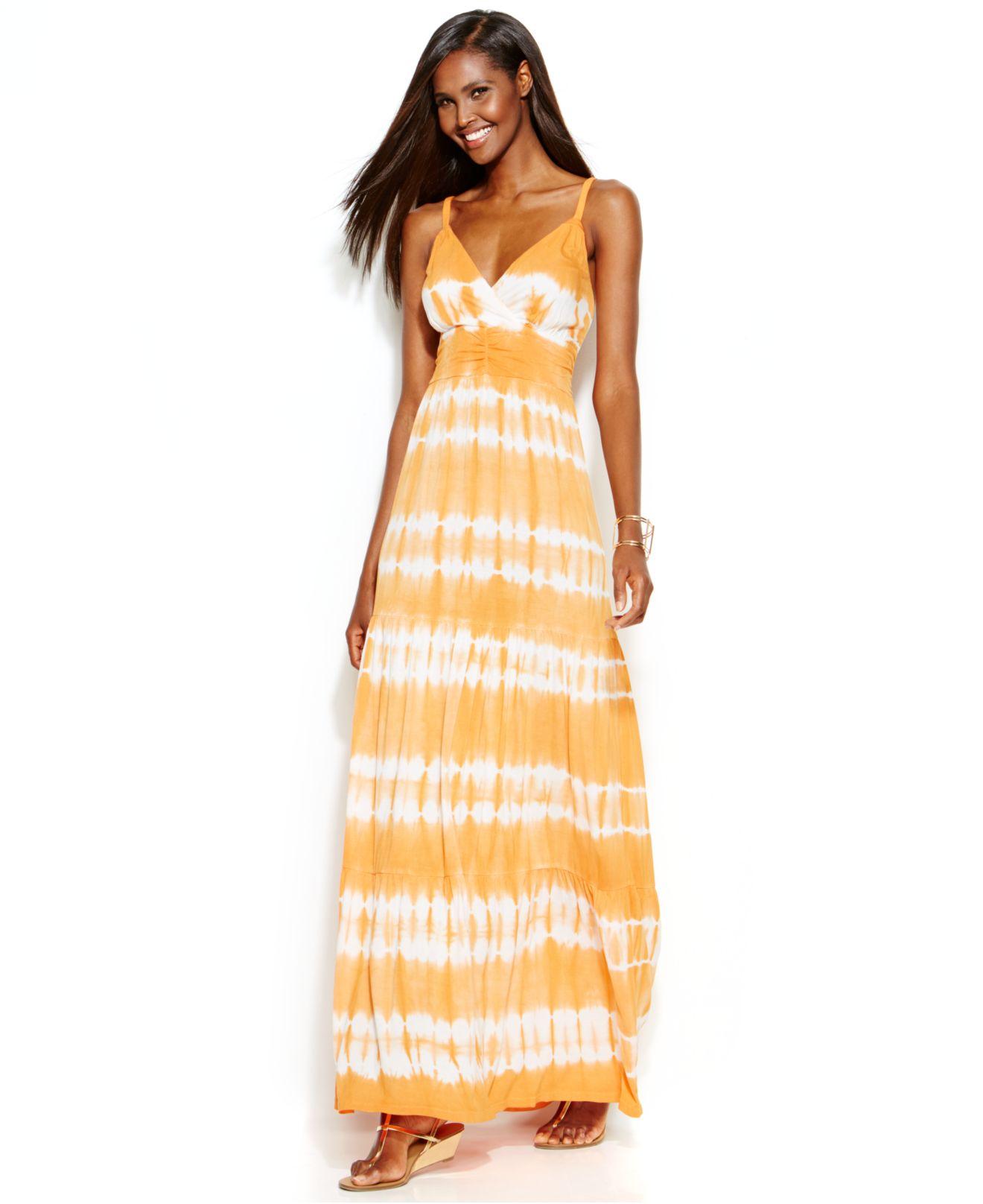 121545c0cc85 Lyst - INC International Concepts Tie-Dye Maxi Dress in Orange