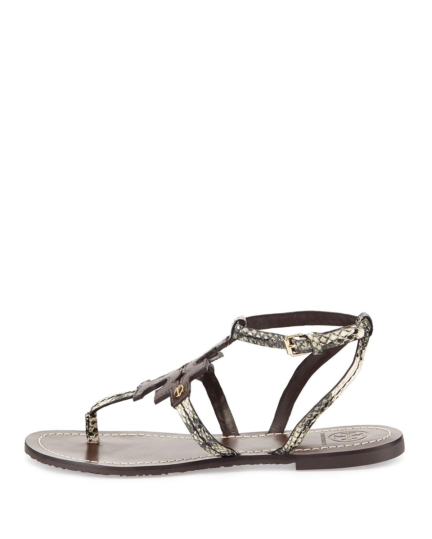 52a54fd3d88 ... coupon lyst tory burch phoebe snake embossed flat sandal 4f99f 132b8 ...