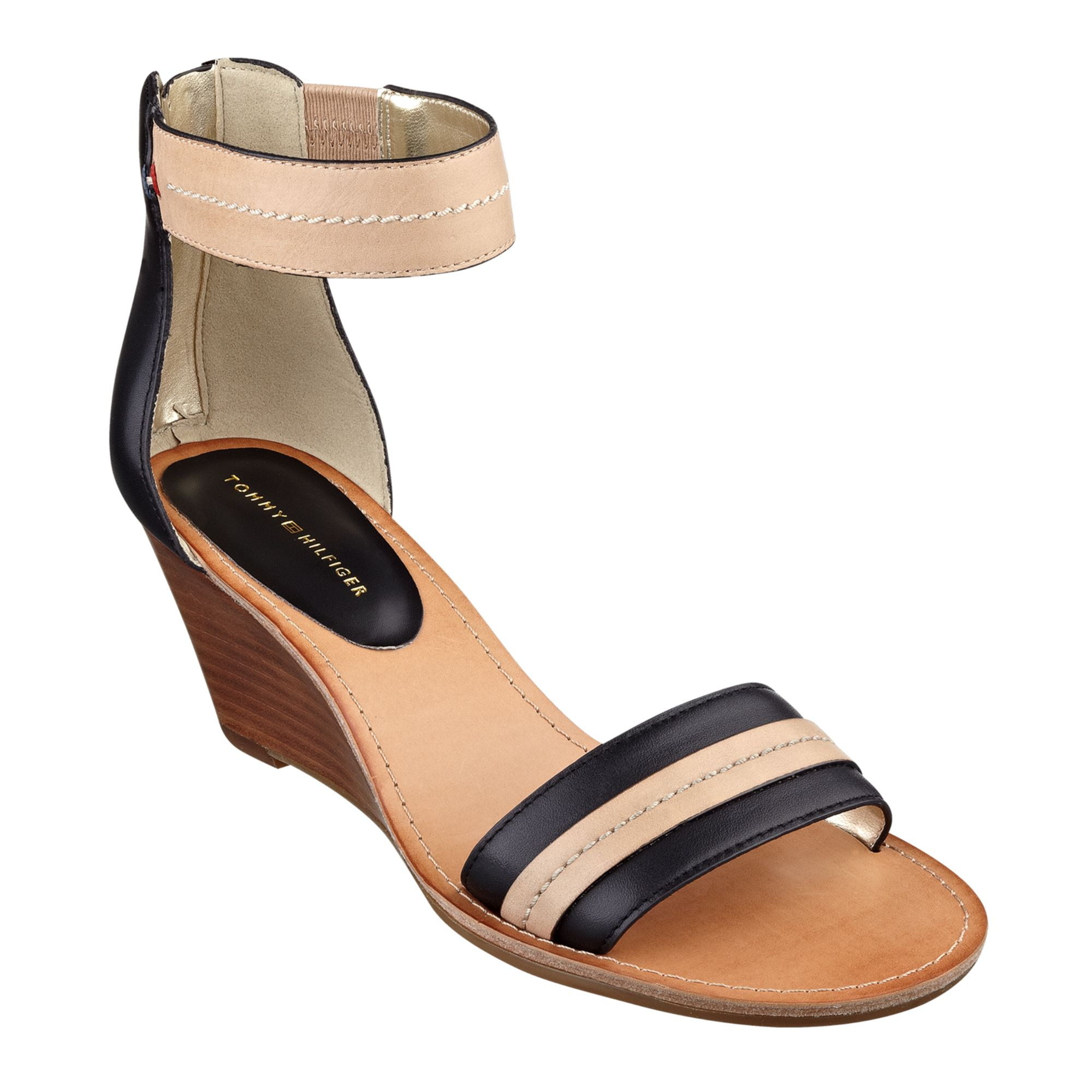 62420302b2597 Lyst - Tommy Hilfiger Women S Yara Akle Strap Wedge Sandals in Black