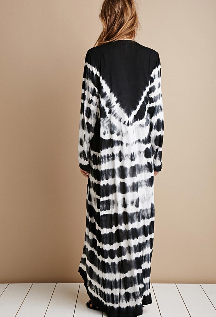 lyst forever 21 raga tie dye maxi cardigan in black. Black Bedroom Furniture Sets. Home Design Ideas