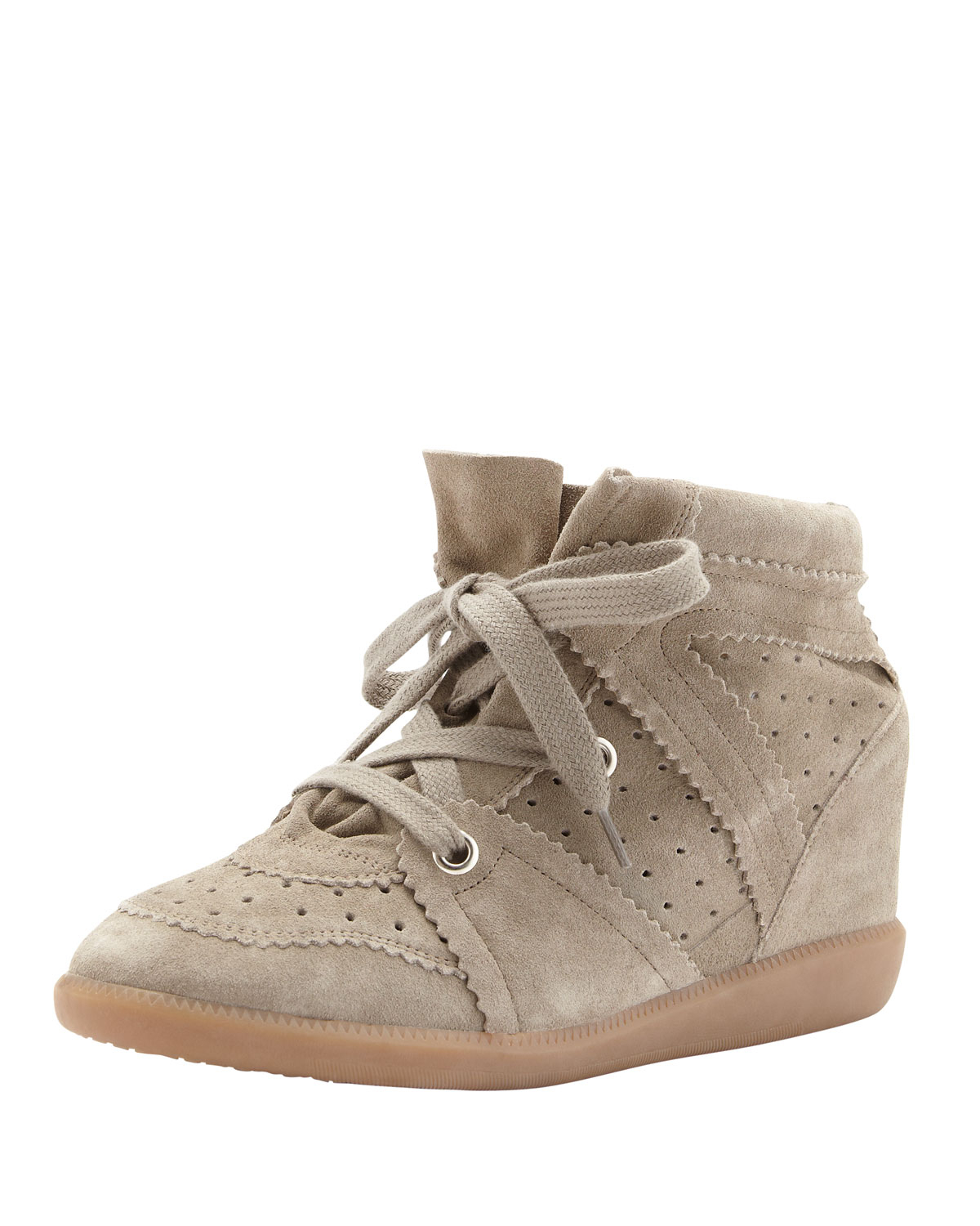 lyst isabel marant bobby lowrise perforated wedge sneaker taupe in gray. Black Bedroom Furniture Sets. Home Design Ideas