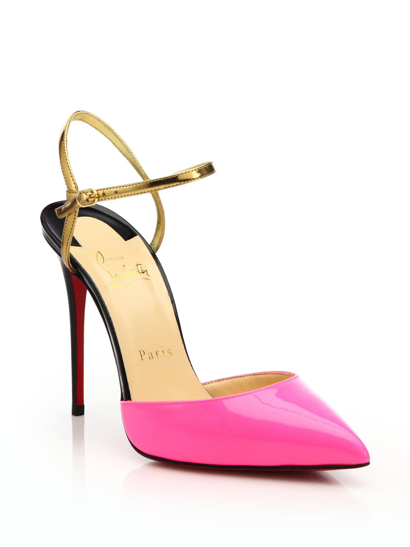 usa replica shoes - christian louboutin patent leather T-strap platform sandals Black ...