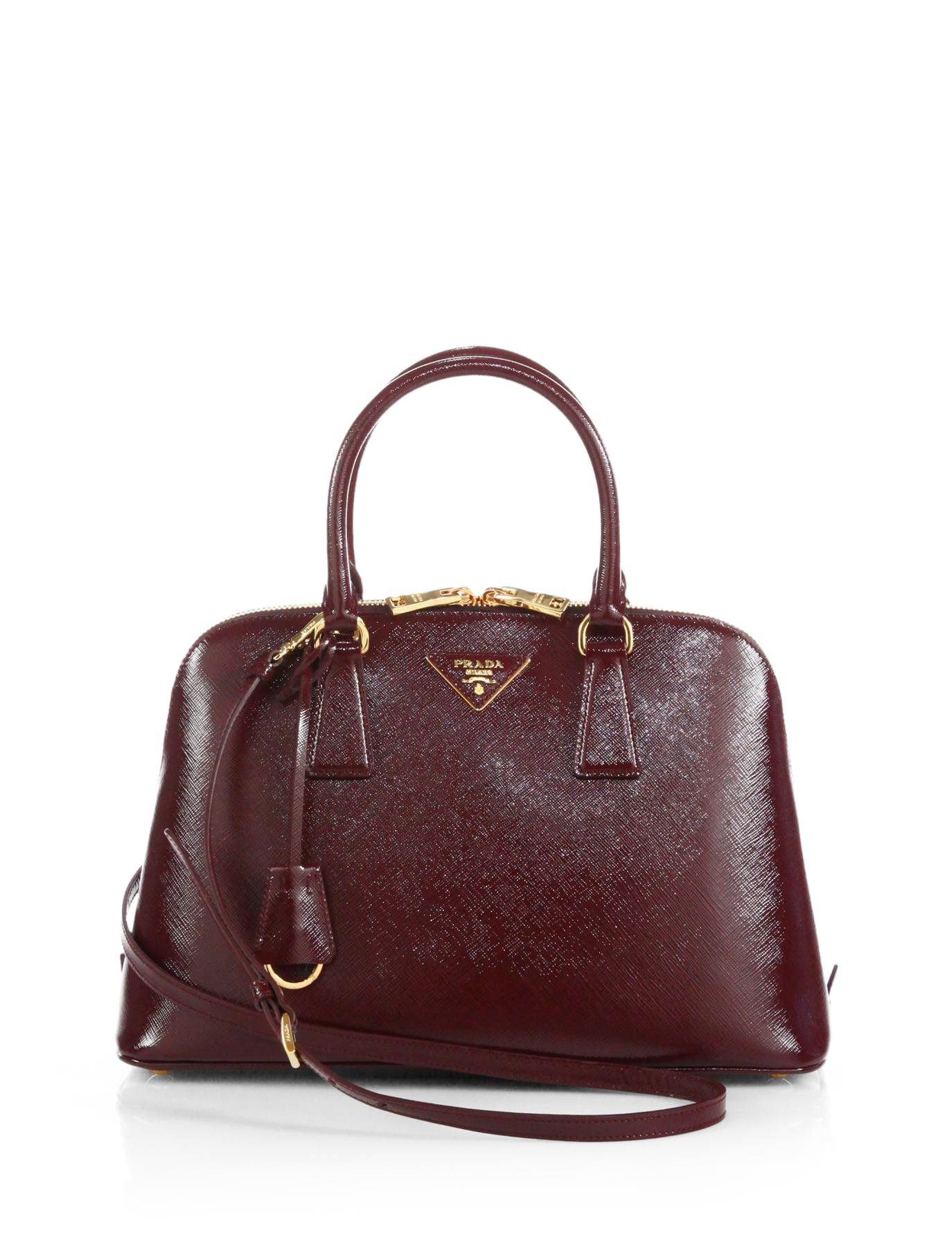 c469f591a5f9 ... greece lyst prada saffiano vernice small promenade bag in brown 58fa1  412cc