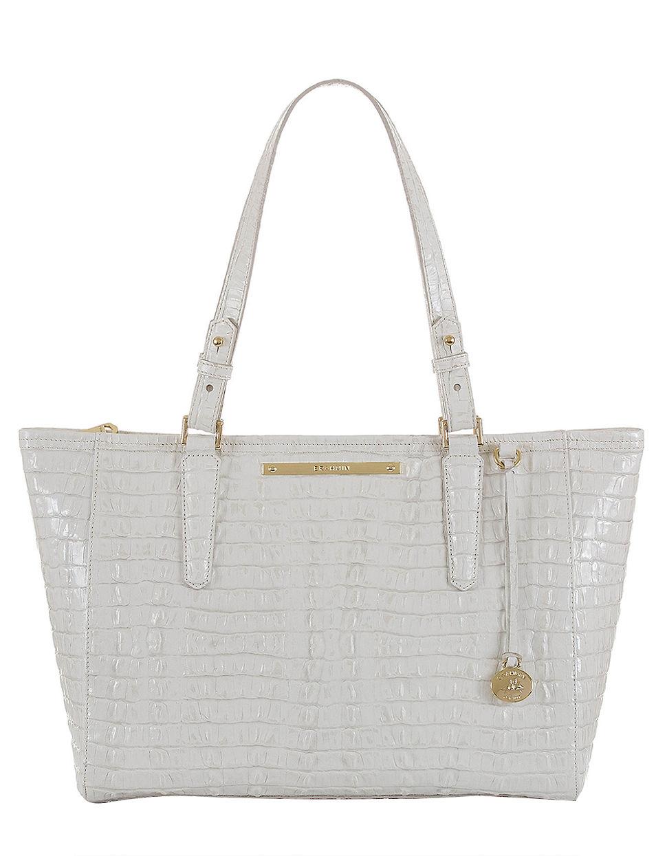 Brahmin Arno Patent Leather Medium Tote Bag In White Macaroon