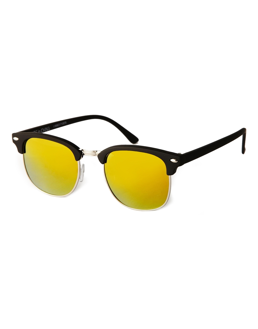 aa2d94beb81 Lyst - ASOS Clubmaster Sunglasses with Color Mirror Lens in Black ...