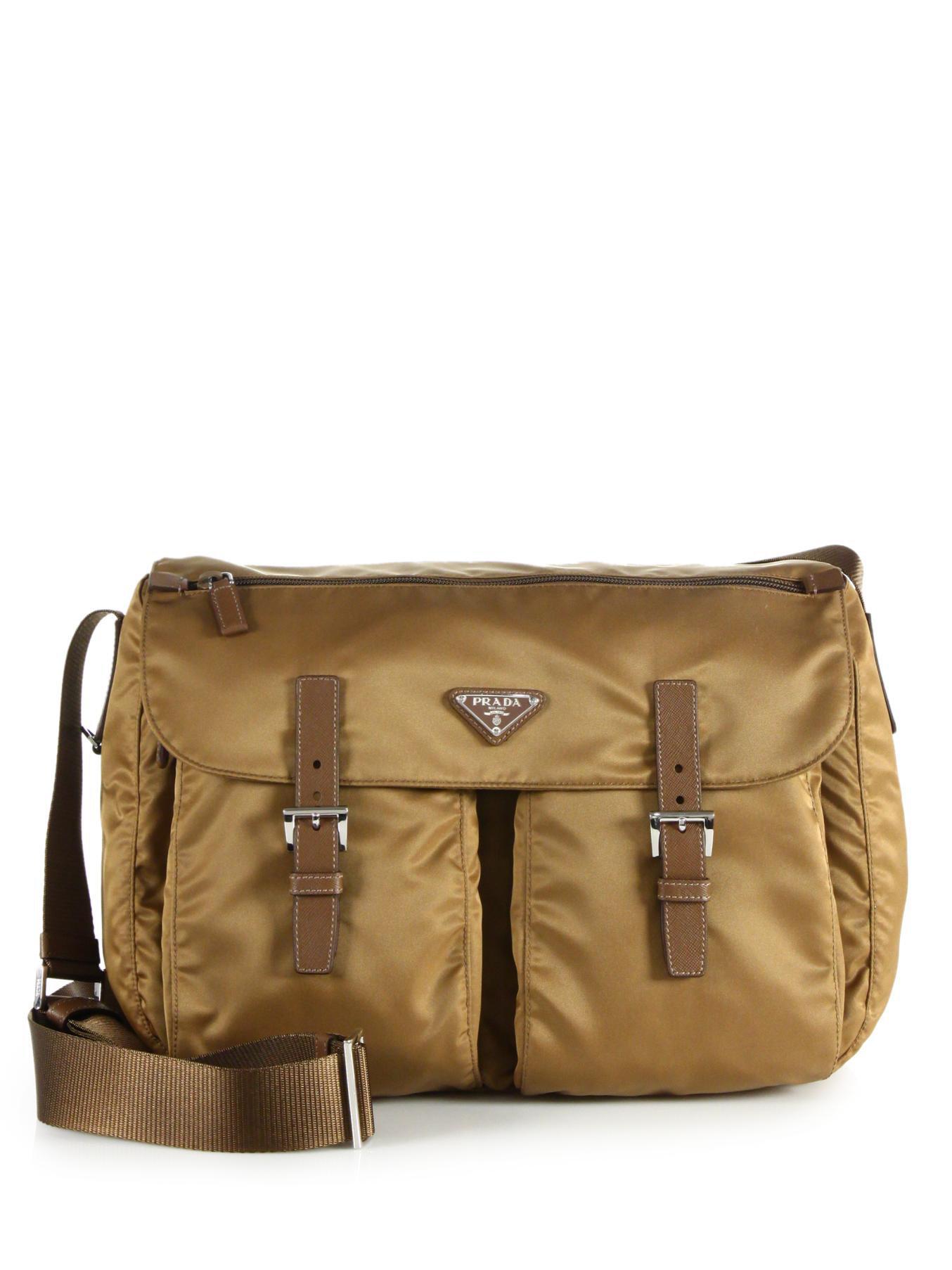 Prada Vela Two-pocket Messenger Bag in Brown (tobacco) | Lyst