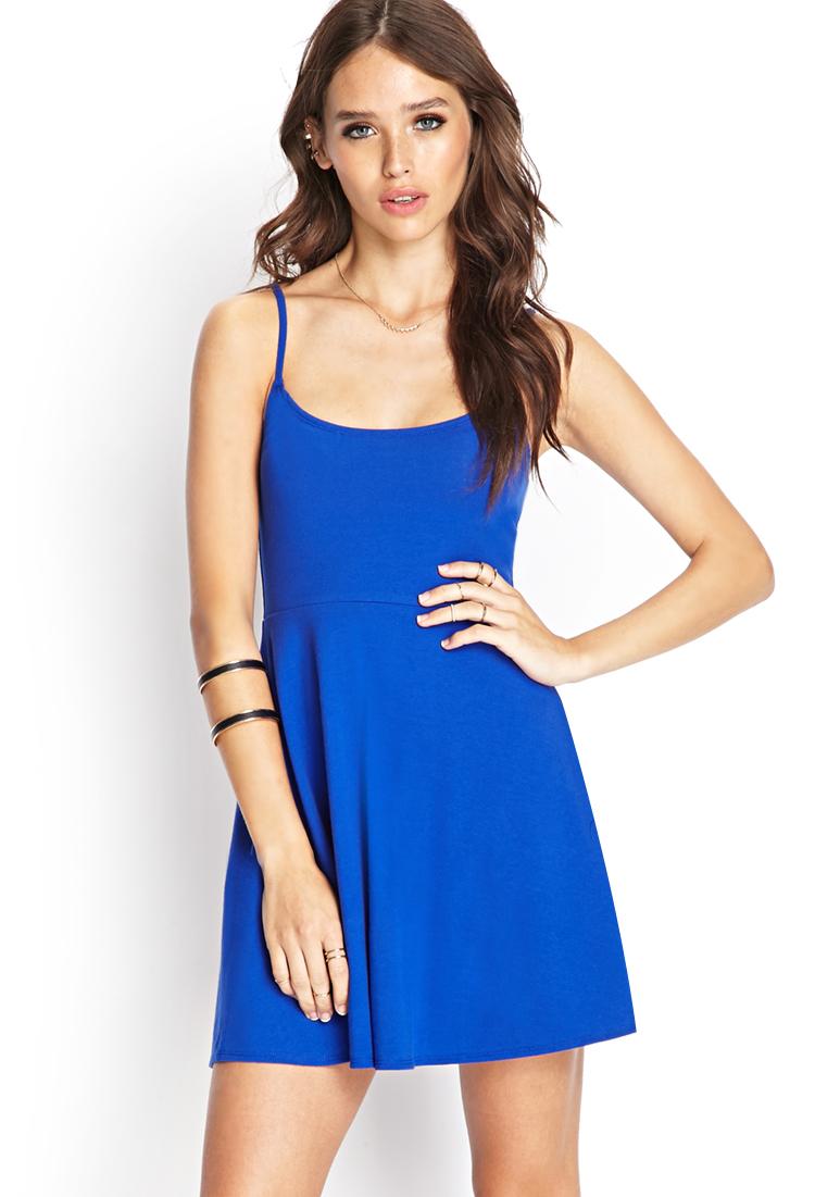 Forever 21 Cami Skater Dress in Blue | Lyst
