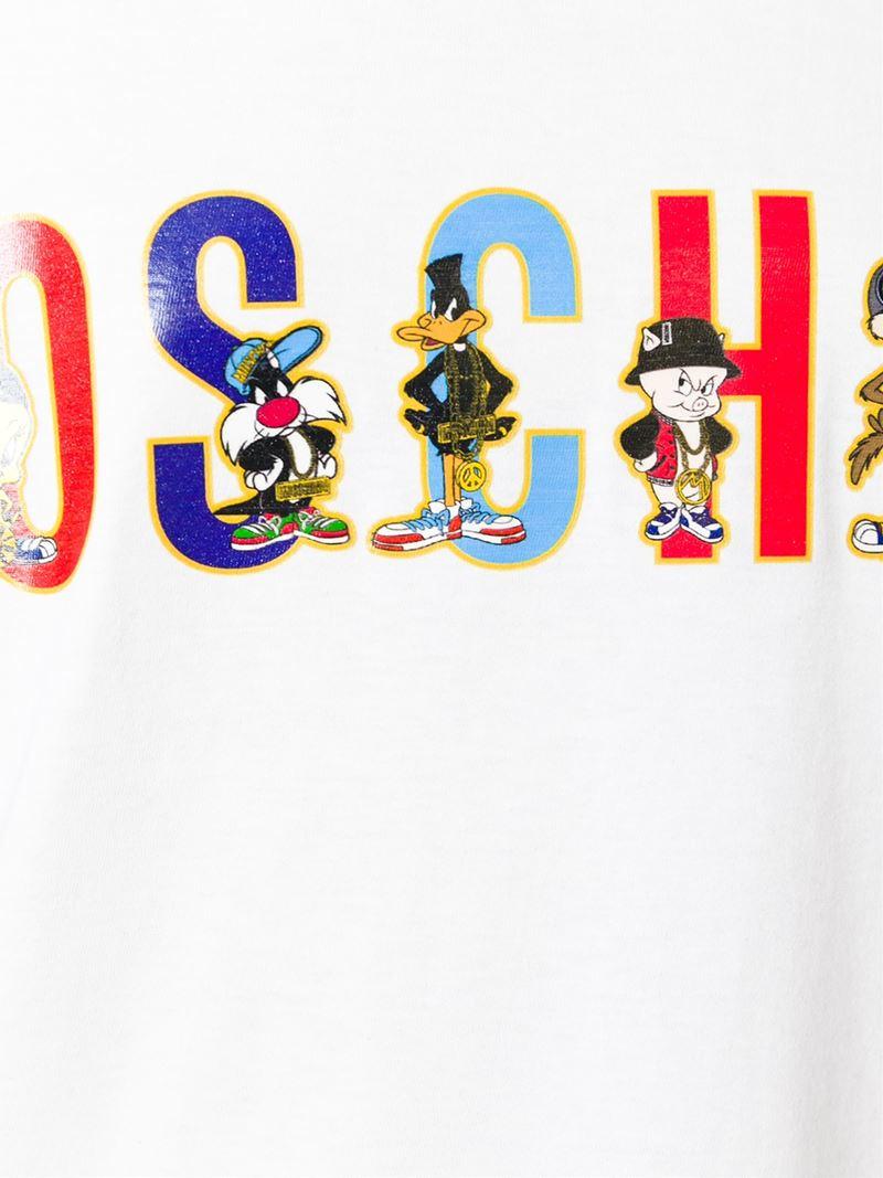 Lyst Moschino Looney Tunes Logo Print T Shirt In White