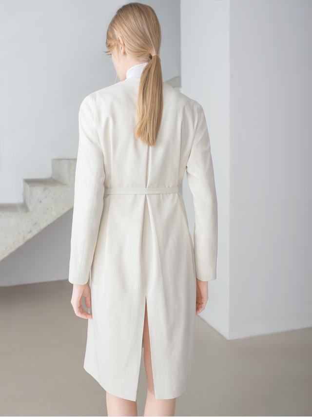 Thisisnon Raw Silk White Coat Dress in White   Lyst