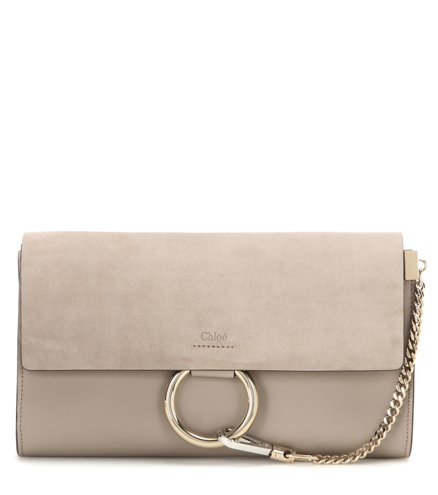 4673715c65d0e Lyst - Chloé Faye Suede And Leather Clutch in Natural