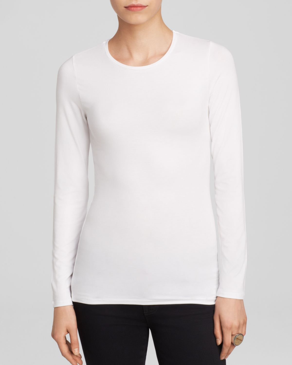 Majestic long sleeve crew neck tee in white for Women s crew t shirts