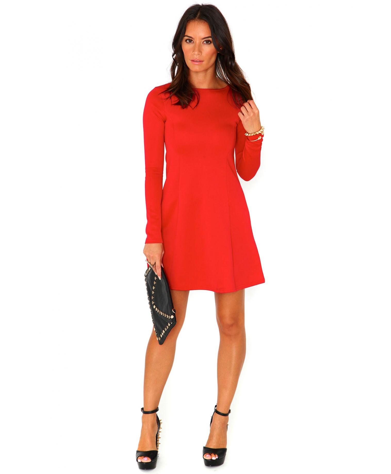 Nicole Scuba Long Sleeve Swing Dress In Red