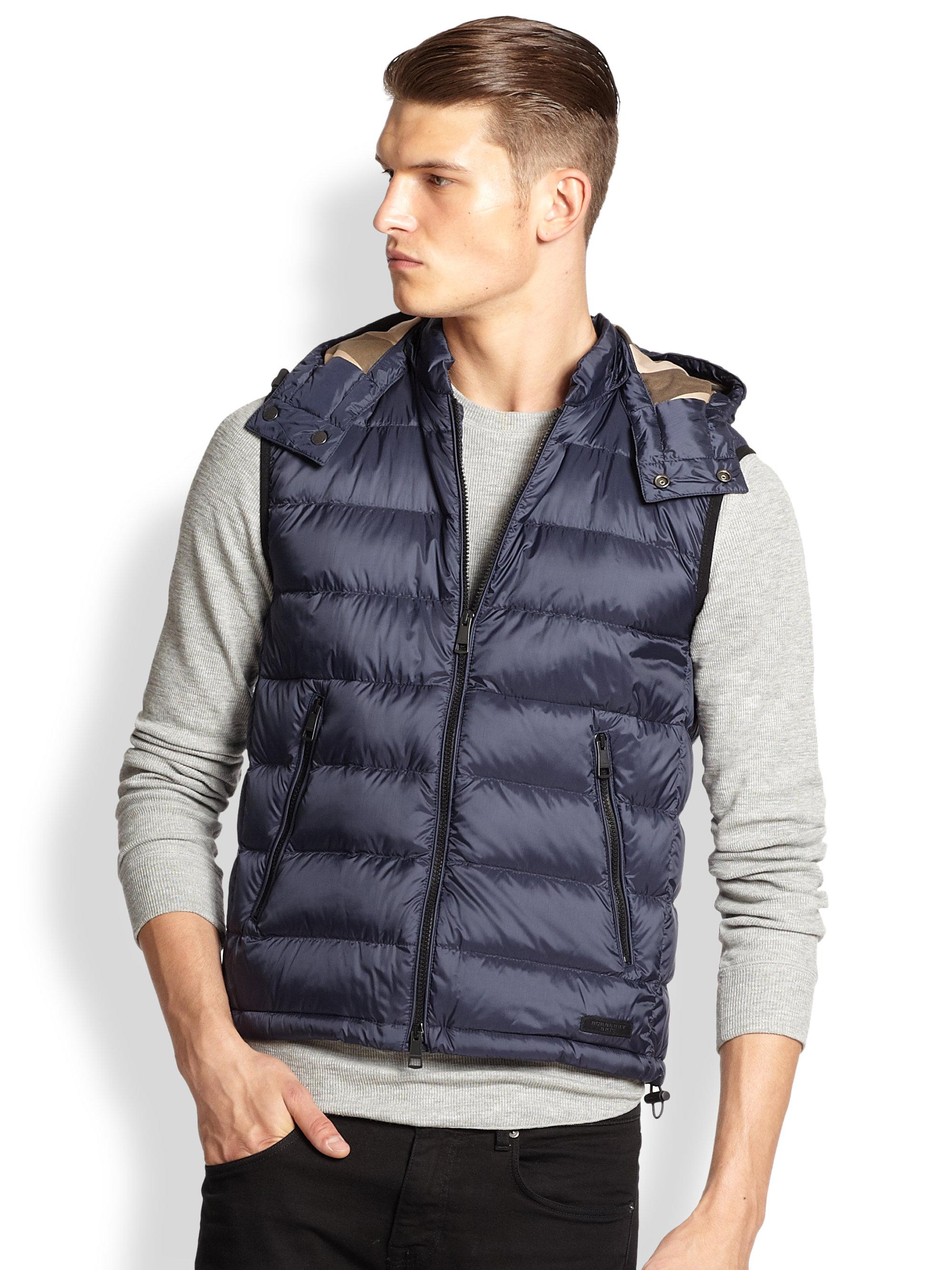 Lyst Burberry Brit Hooded Puffer Vest In Blue For Men