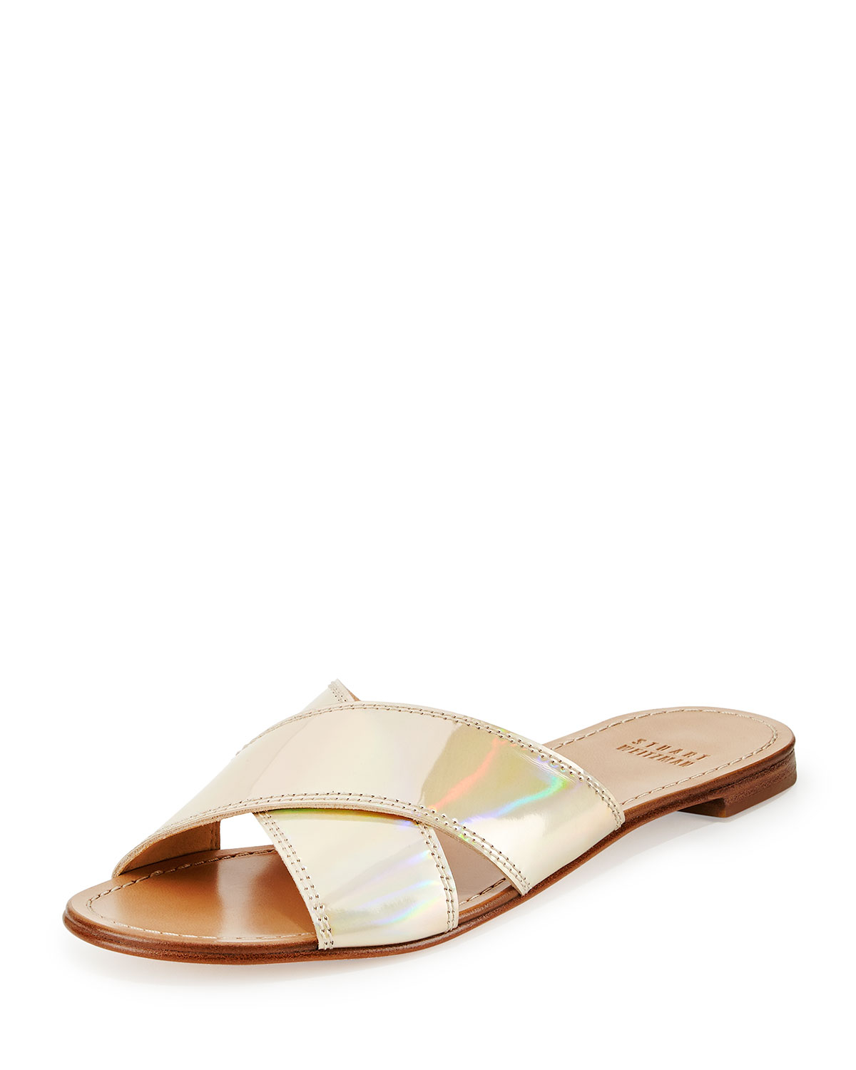 a883dde9959 Lyst - Stuart Weitzman Byway Criss-Cross Sandals in Metallic