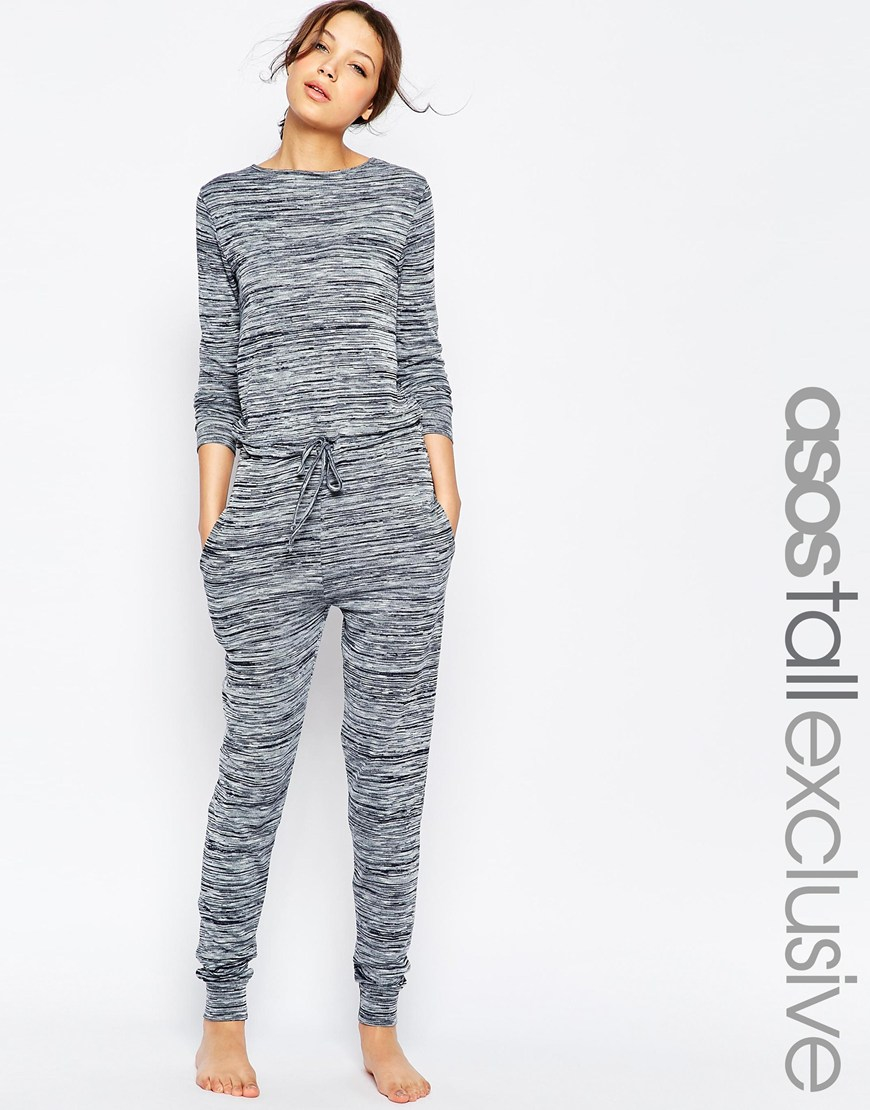 5a60450b738 Lyst - ASOS Tall Lounge Jumpsuit In Marl in Gray