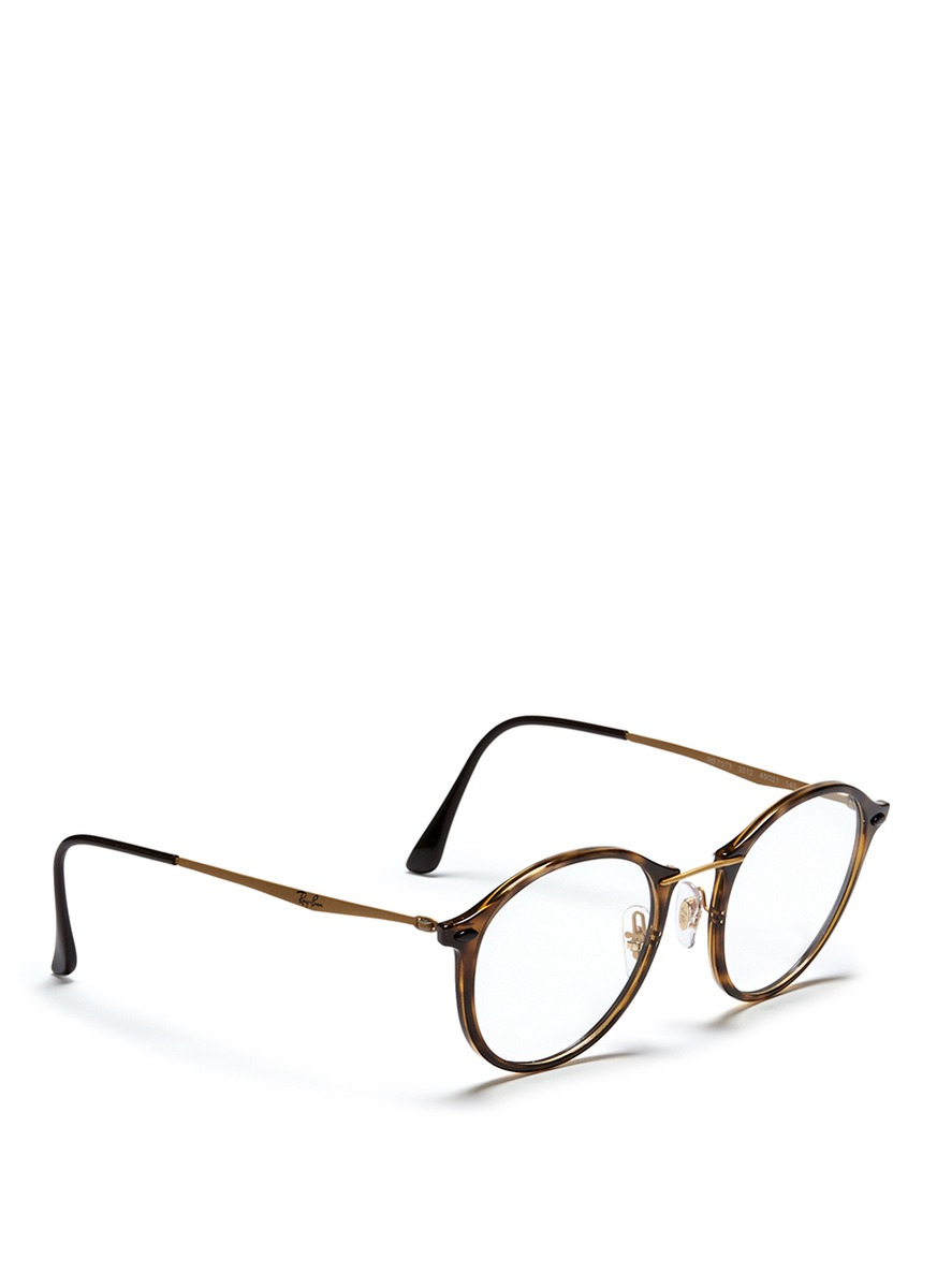 36c7ee3a1d ... get lyst ray ban rb7073 tortoiseshell acetate round optical glasses  952aa 0affe